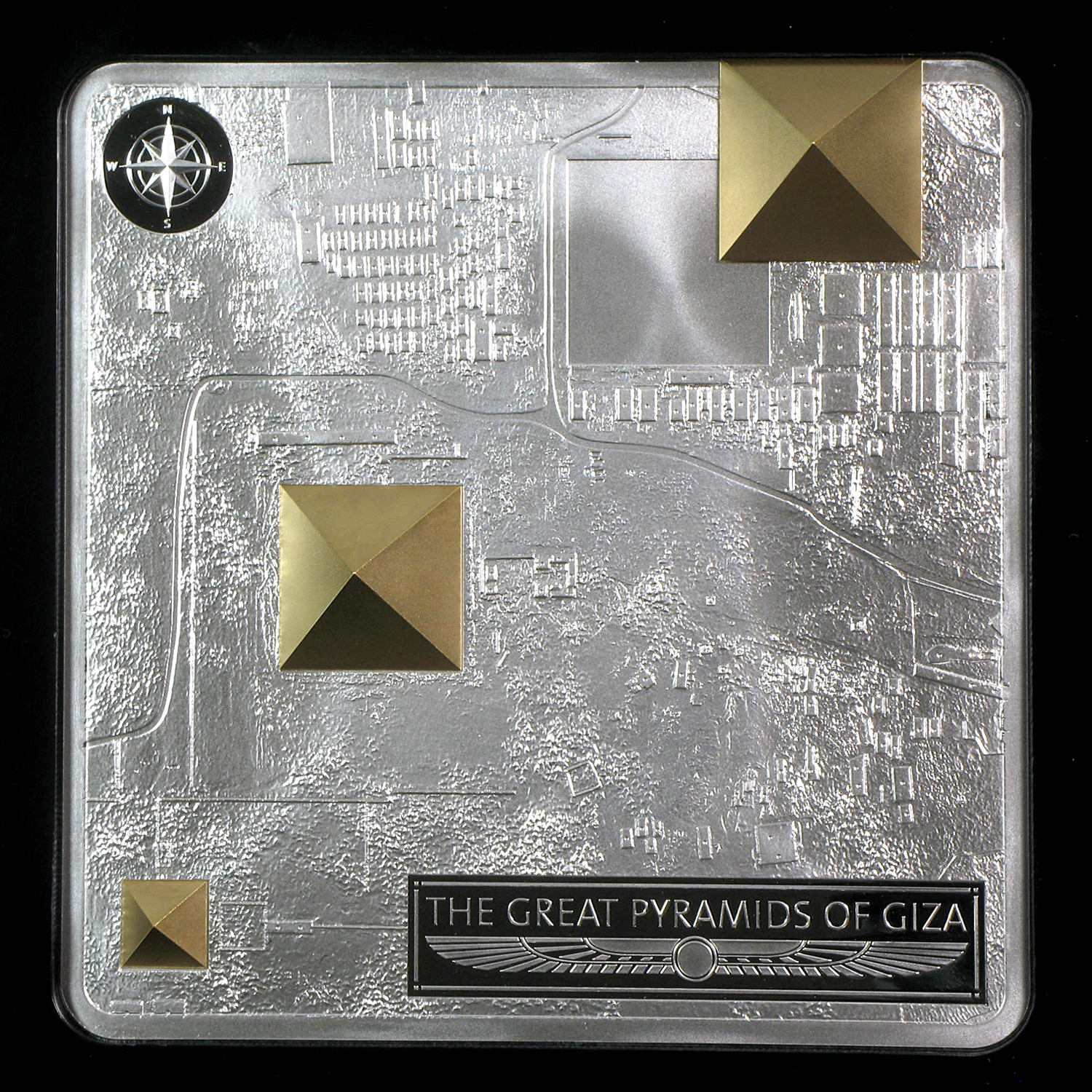 2012 Fiji Proof Silver $50 Great Pyramids of Giza 3D Landscape