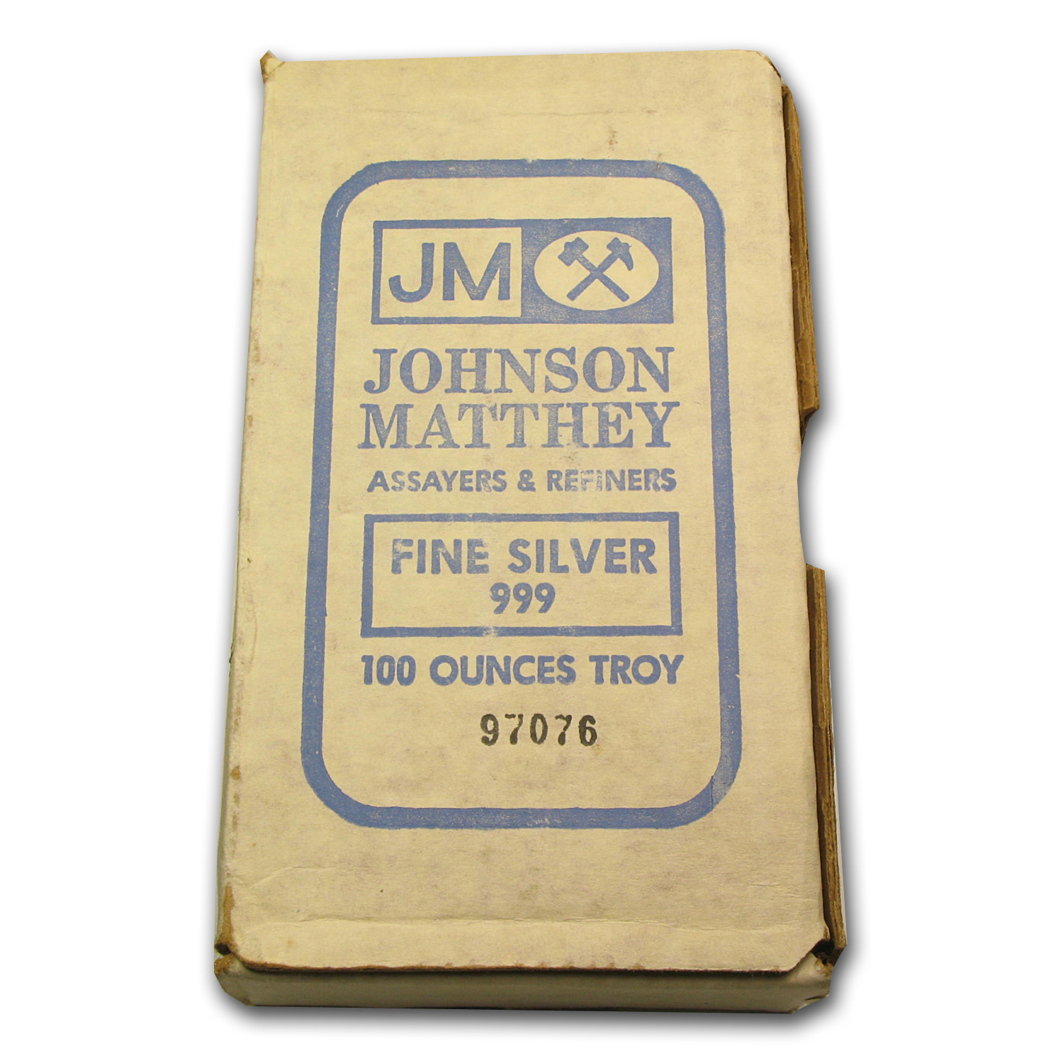 100 oz Silver Bar - Johnson Matthey (Pressed/Beautiful Toning)