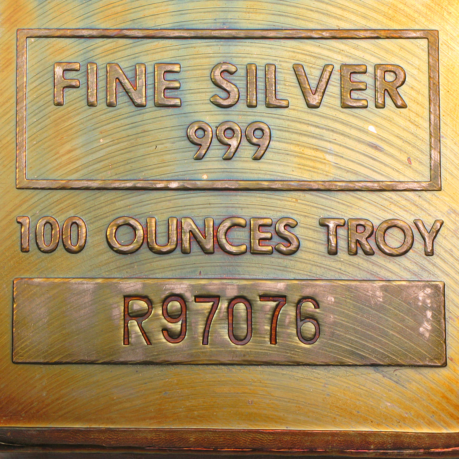 100 oz Silver Bar - Johnson Matthey - Pressed/Beautiful Toning