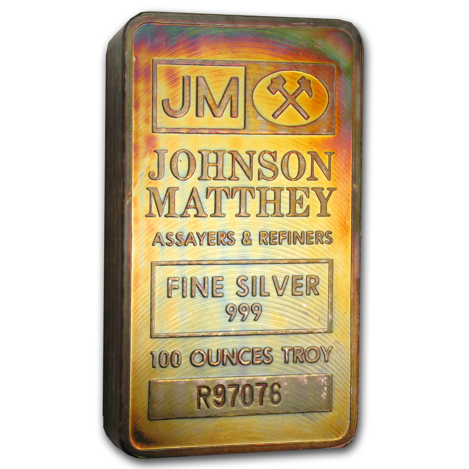 100 oz Silver Bars - Johnson Matthey (Pressed/Beautiful Toning)