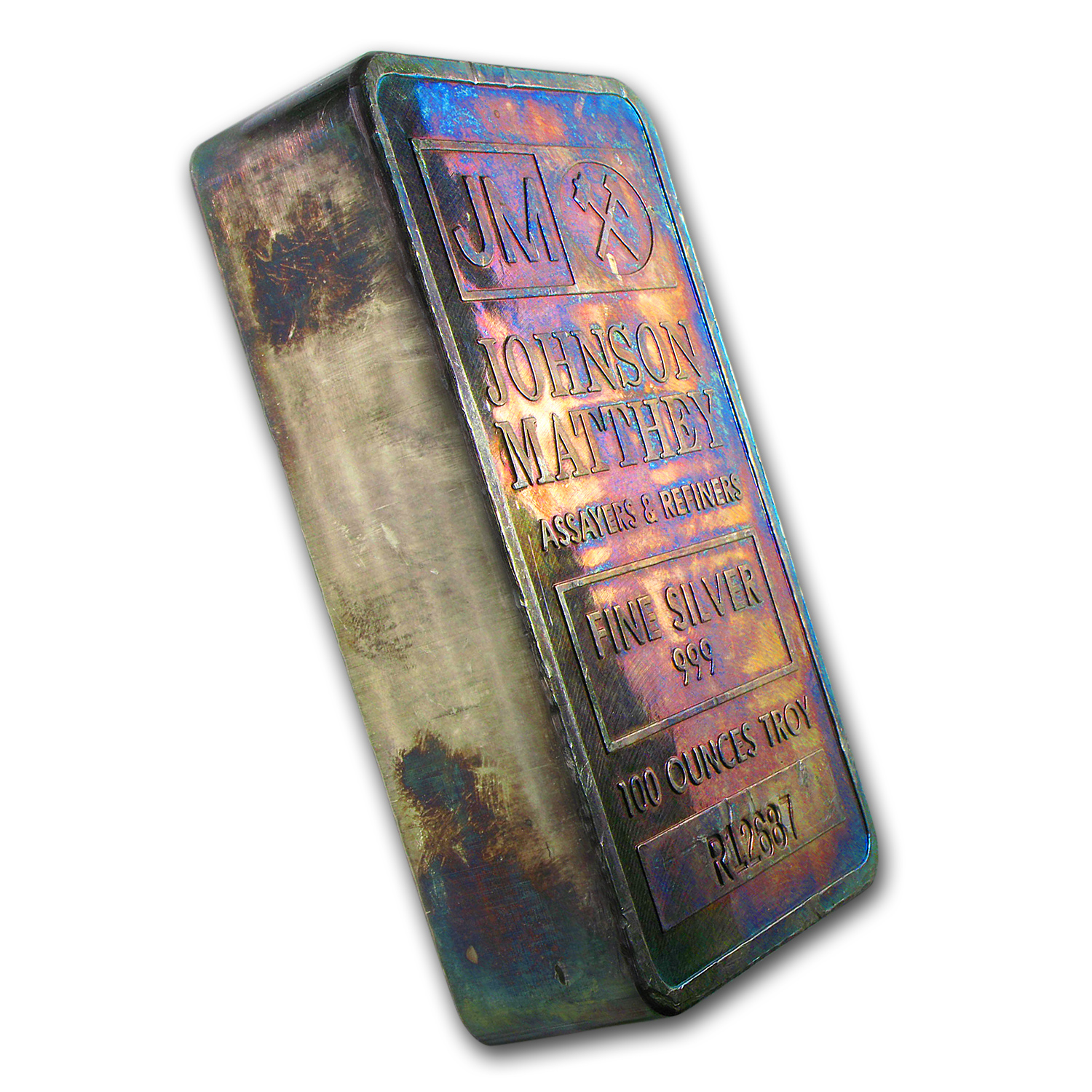 100 oz Silver Bar - Johnson Matthey (Pressed/Beautifully Toned)