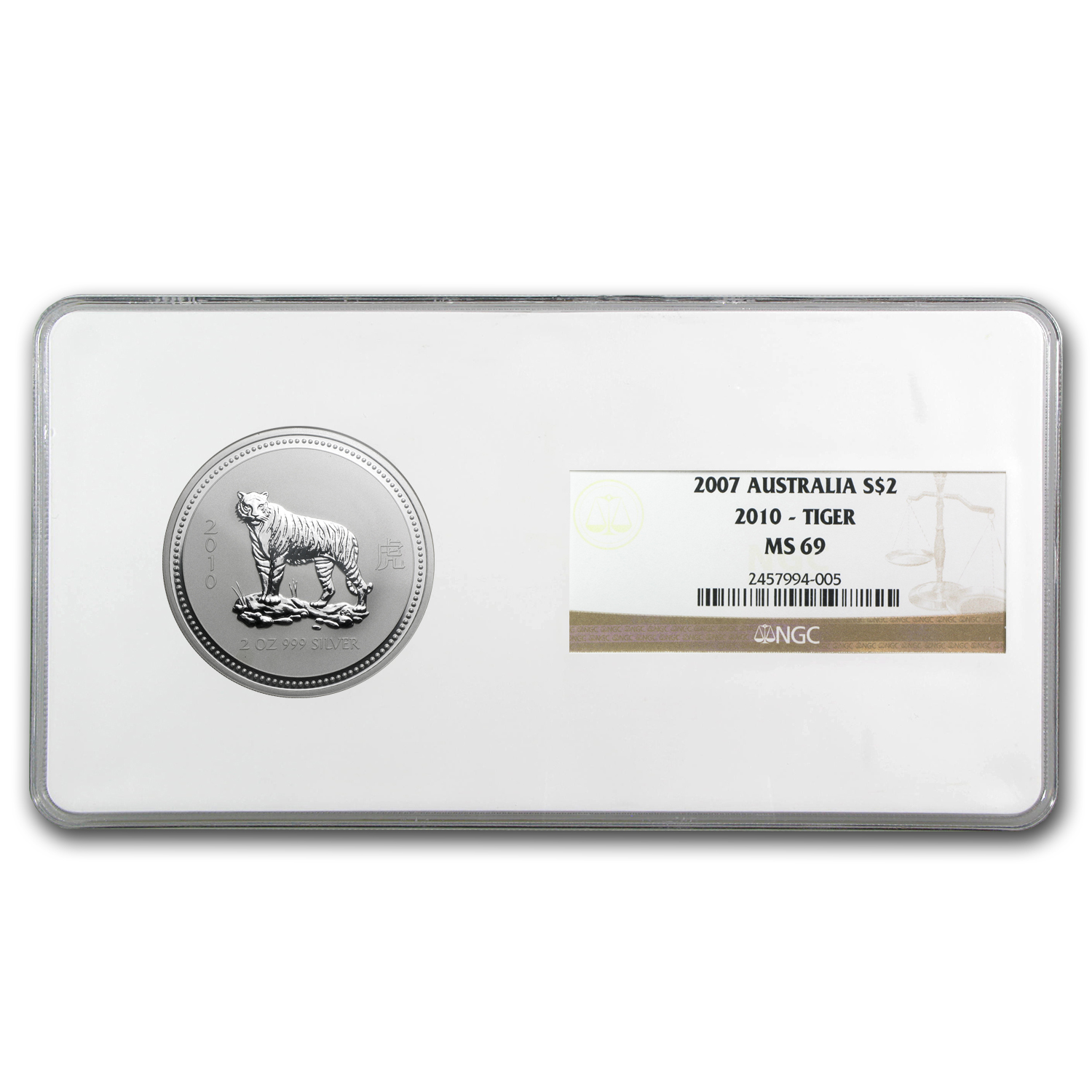 2010 2 oz Silver Lunar Year of the Tiger (Series I) NGC MS-69