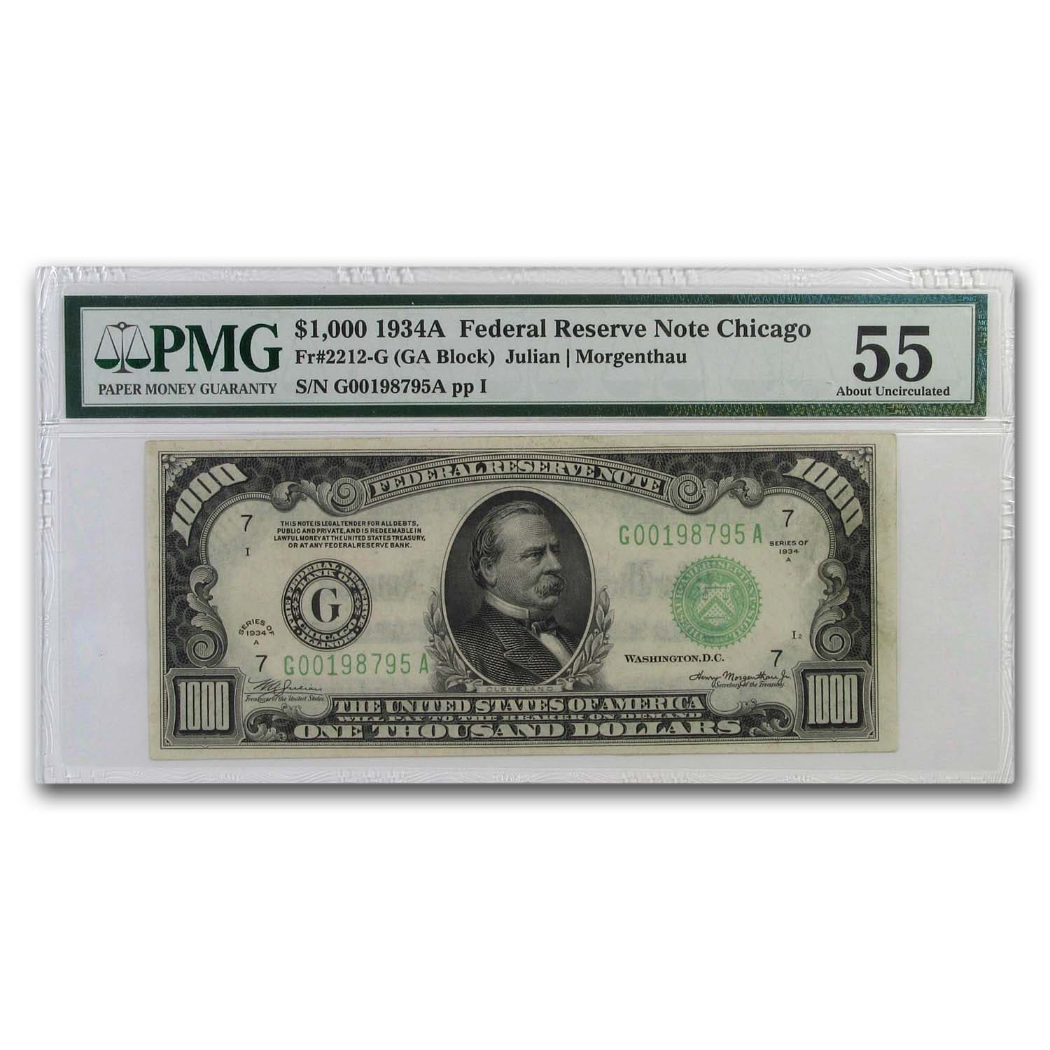 1934-A (G-Chicago) $1,000 FRN PMG About Uncirculated 55)