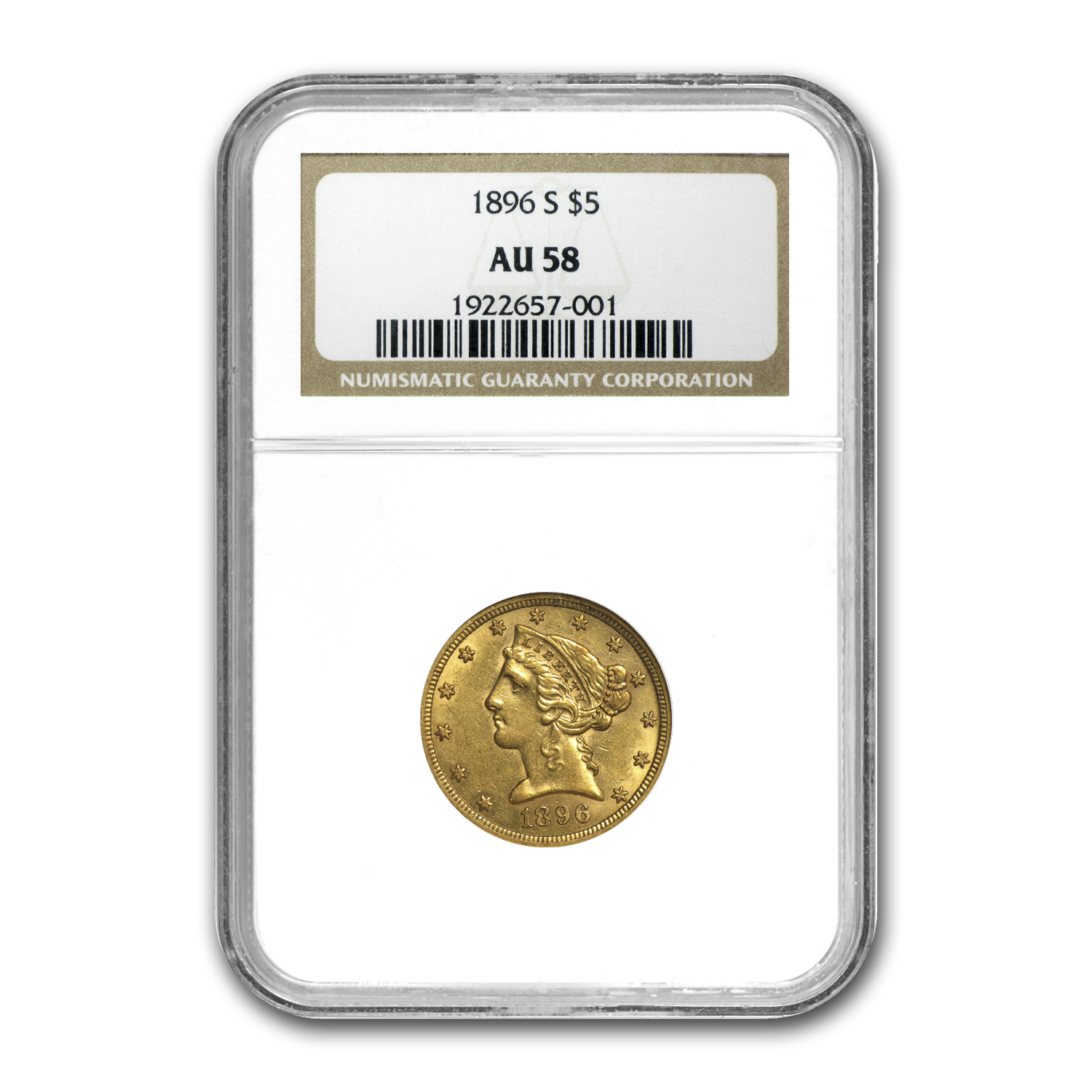1896-S $5 Liberty Gold Half Eagle AU-58 NGC