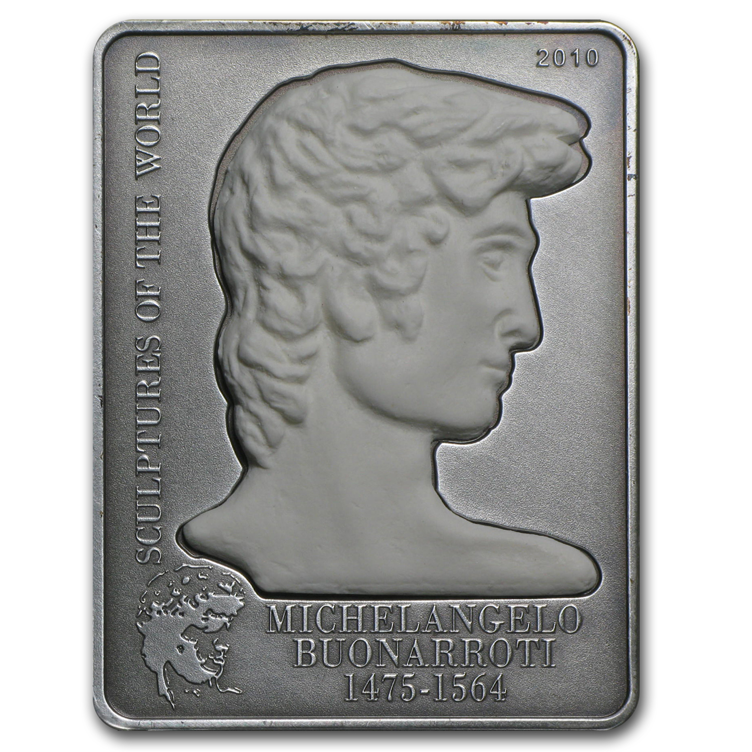 2010 Cook Islands Silver $5 Sculptures Michelangelo's David