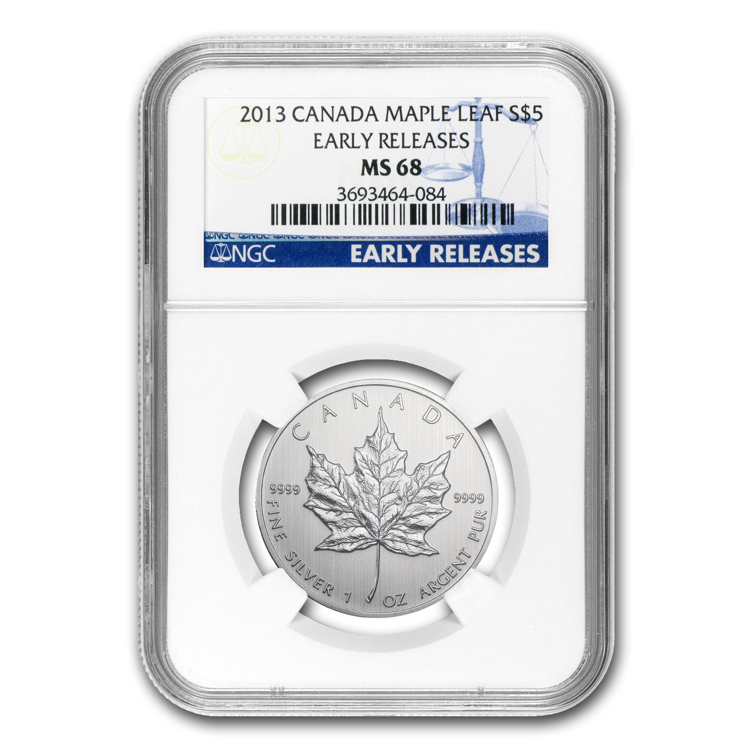 2013 1 oz Silver Canadian Maple Leaf MS-68 NGC Early Releases