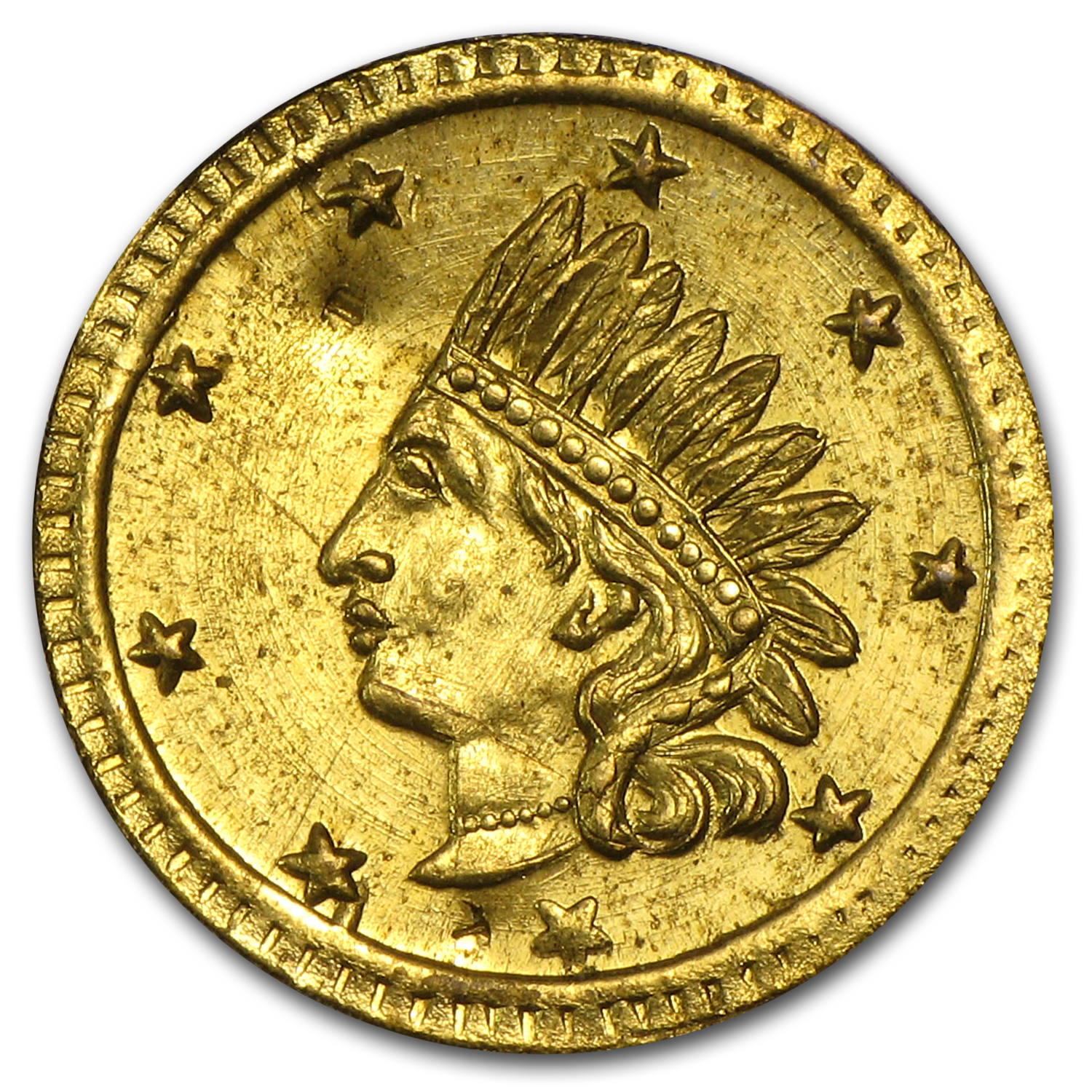 1857 Indian Round California Gold Token Almost Uncirculated