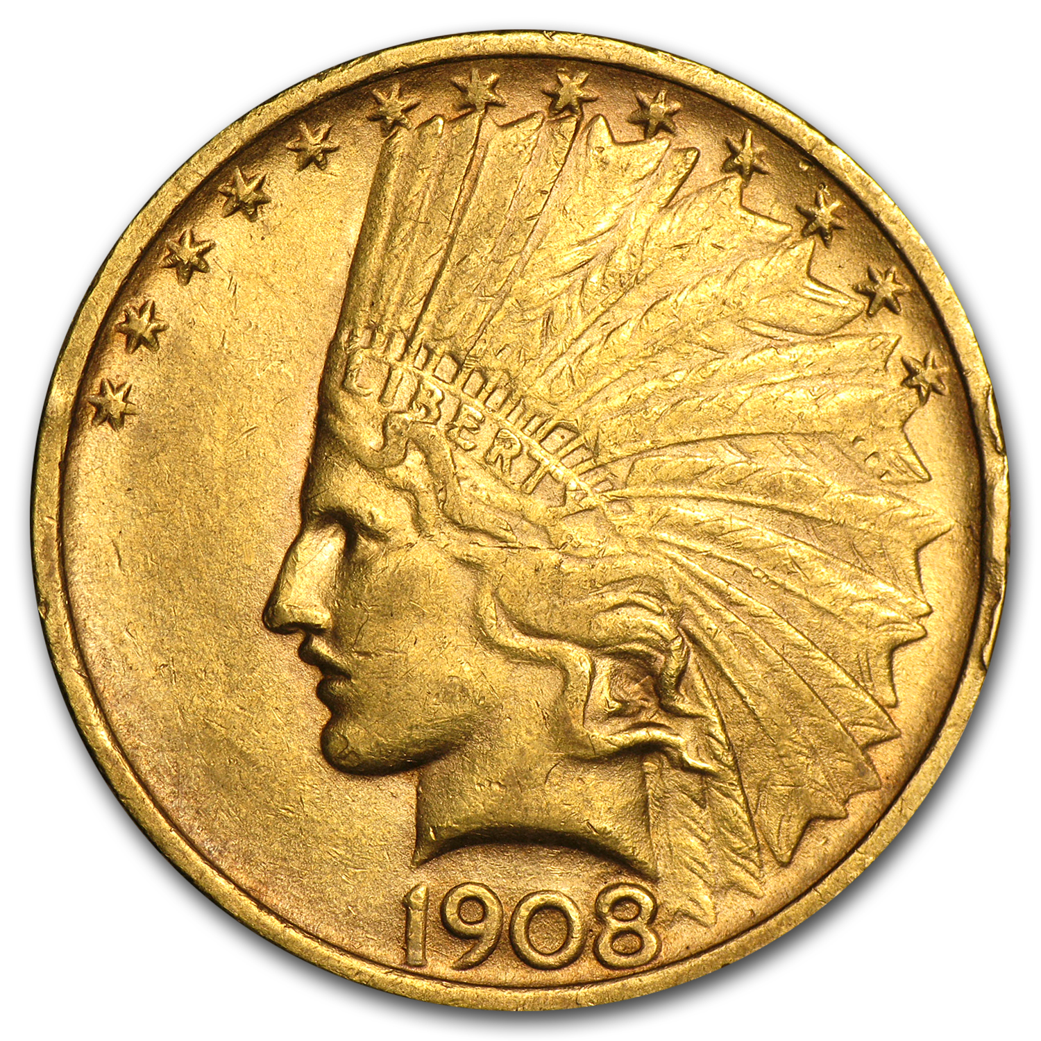 1908 $10 Indian Gold Eagle No Motto Extra Fine