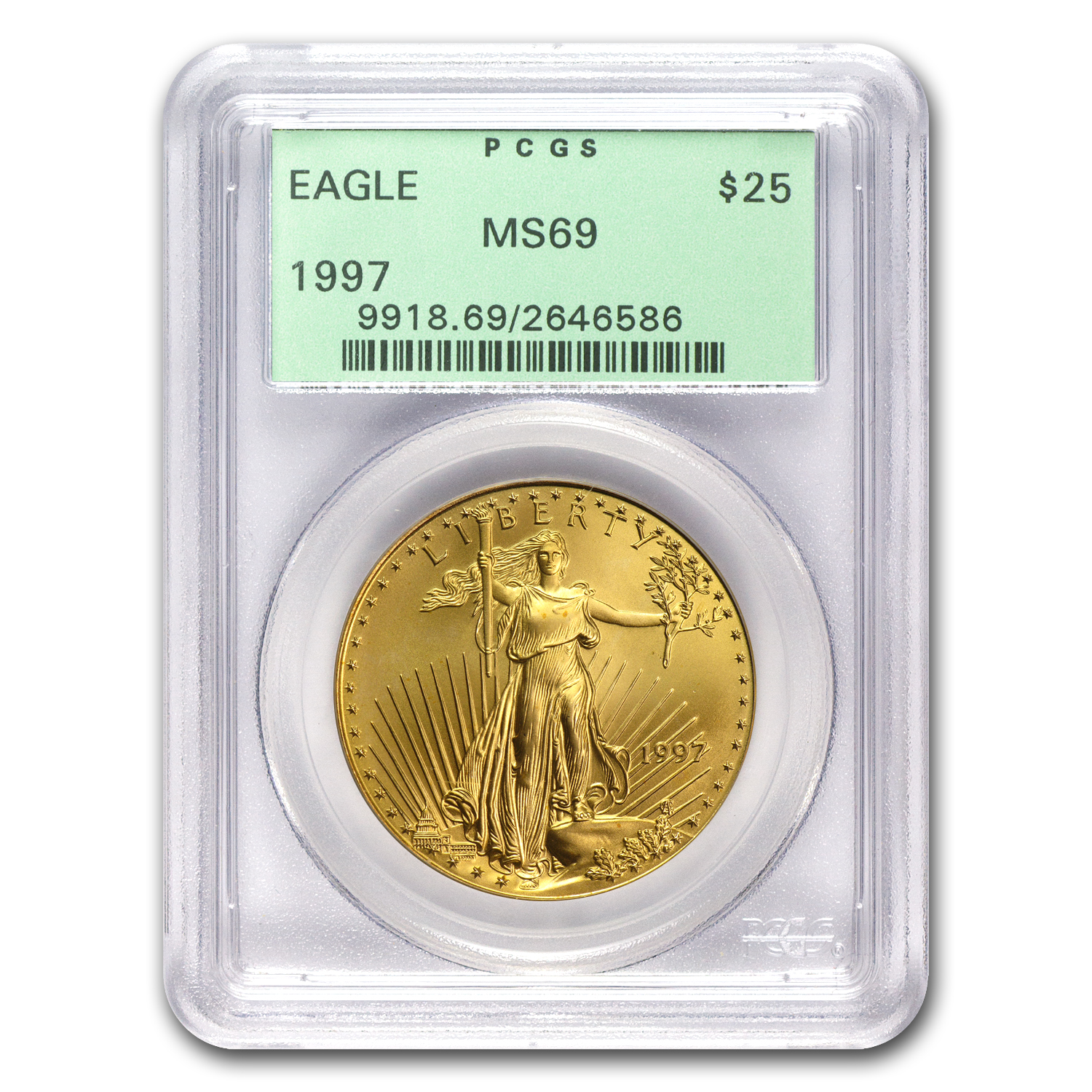 1997 1/2 oz Gold American Eagle MS-69 PCGS (Old Green Label)