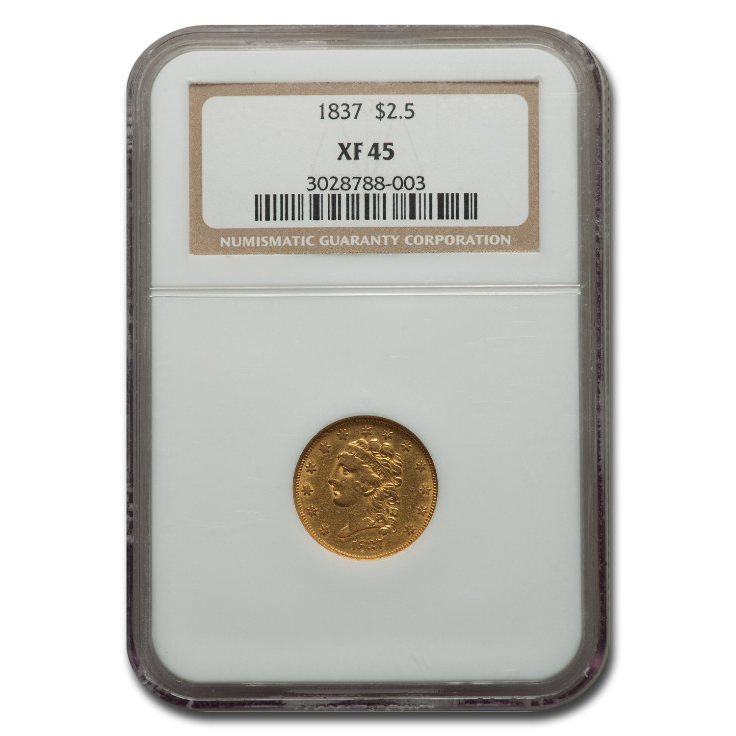 1837 $2.50 Gold Classic Head - Extra Fine-45 NGC