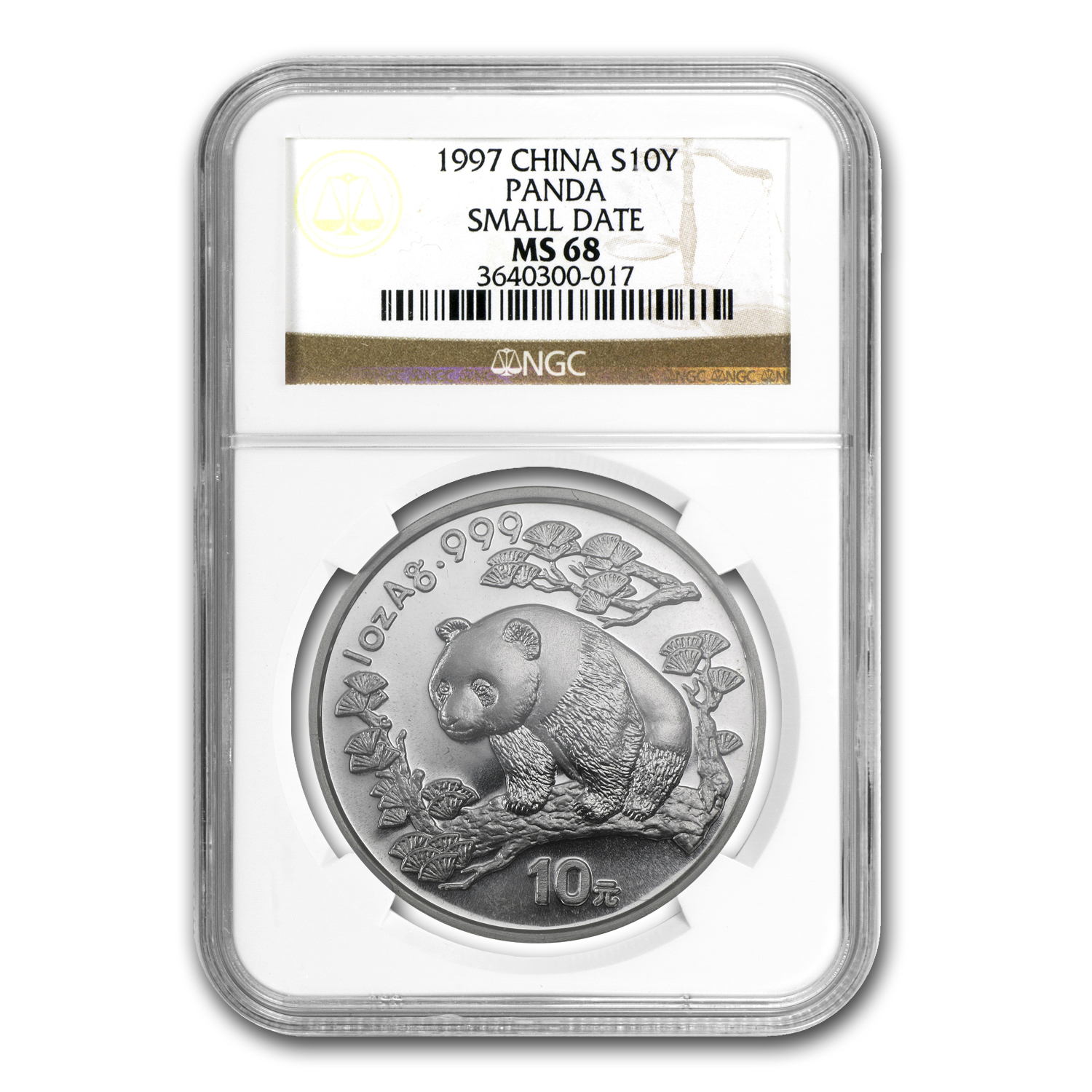 1997 China 1 oz Silver Panda MS-68 NGC (Small Date)