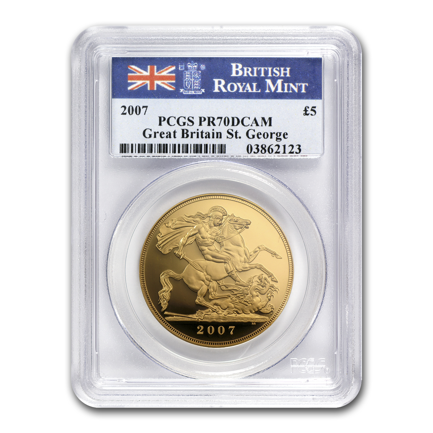 2007 Great Britain Gold £5 Sovereign PR-70 PCGS