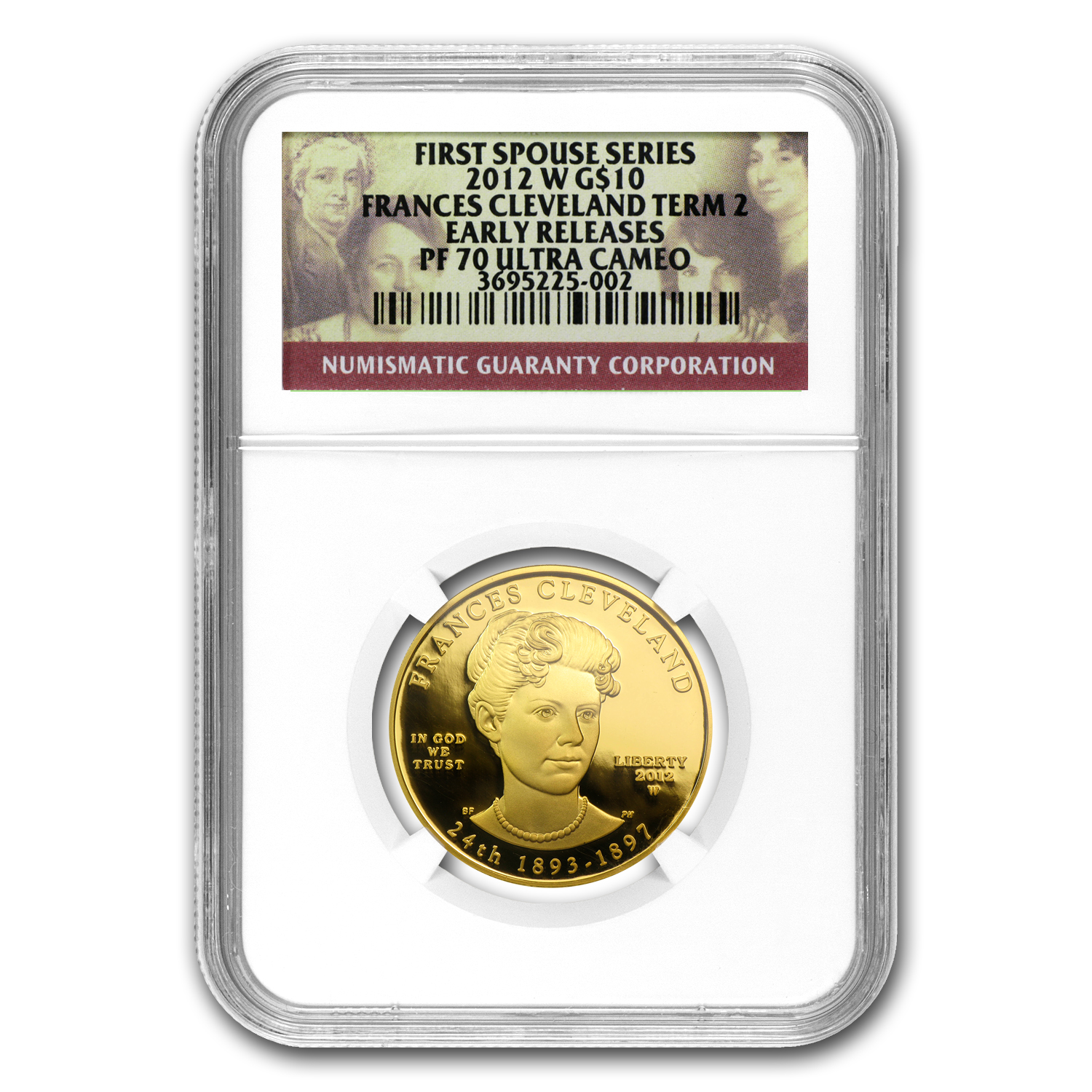 2012-W 1/2 oz Prf Gold Frances Cleveland 2nd Term PF-70 NGC (ER)