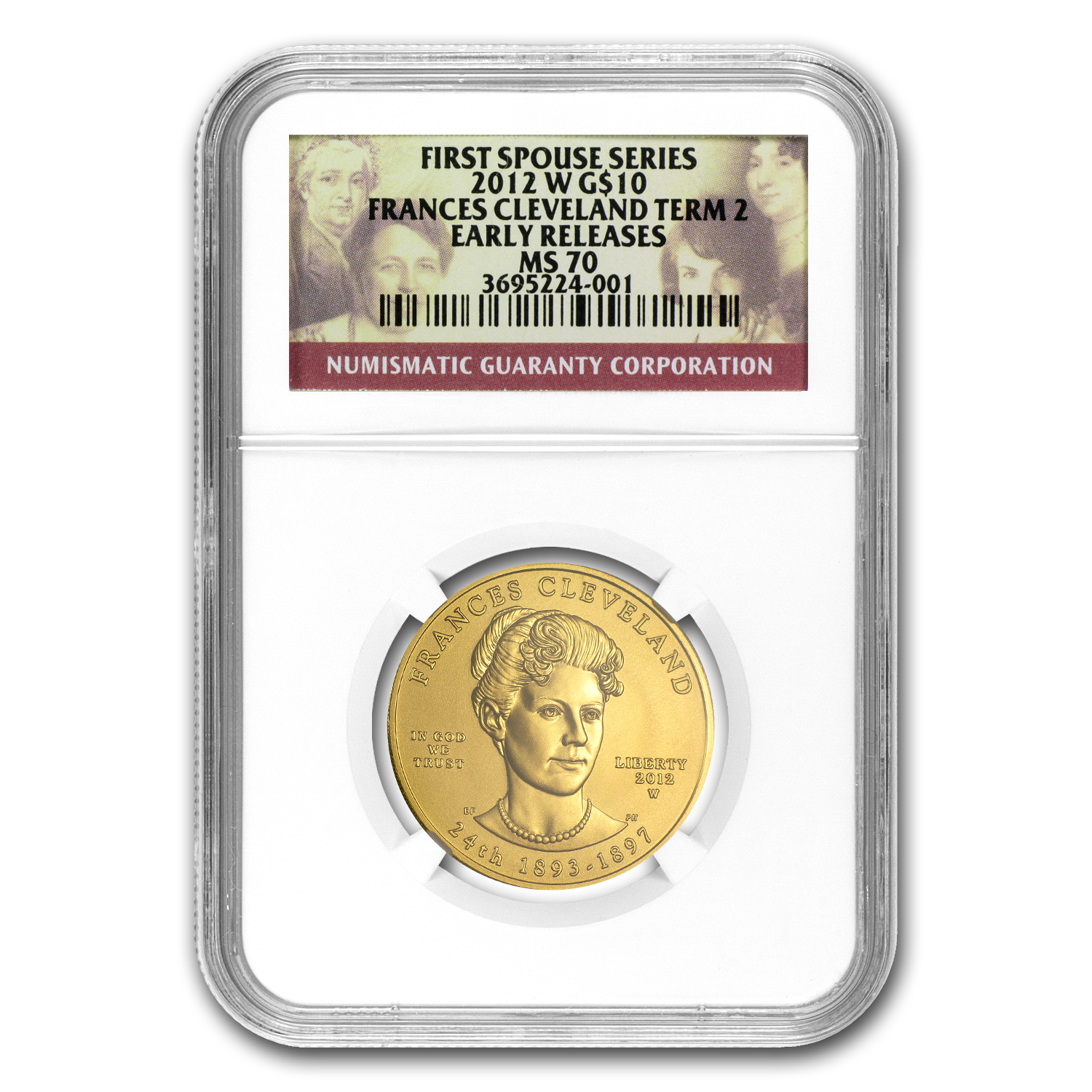 2012-W 1/2 oz Prf Gold Frances Cleveland 2nd Term MS-70 NGC (ER)