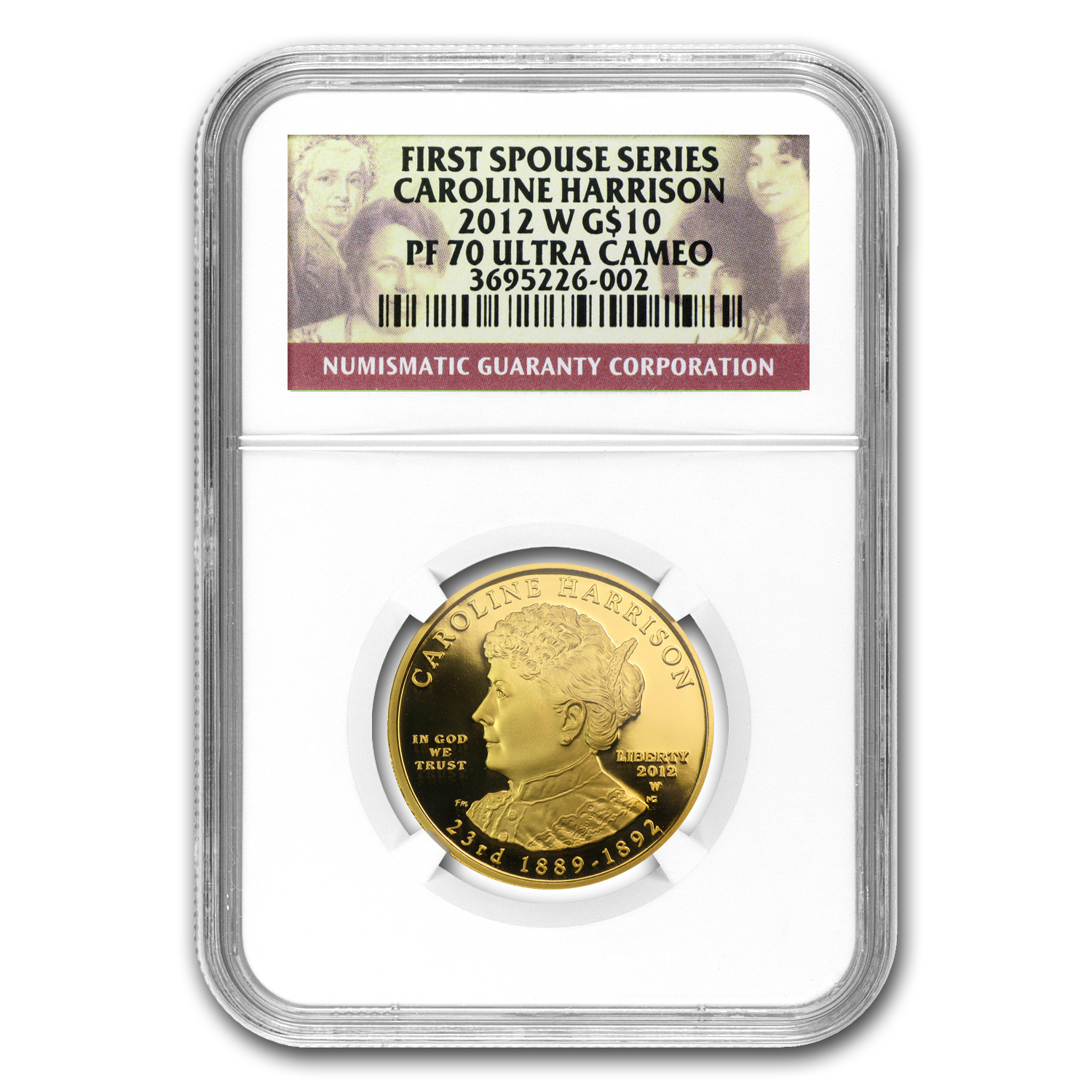 2012-W 1/2 oz Proof Gold Caroline Harrison PF-70 NGC