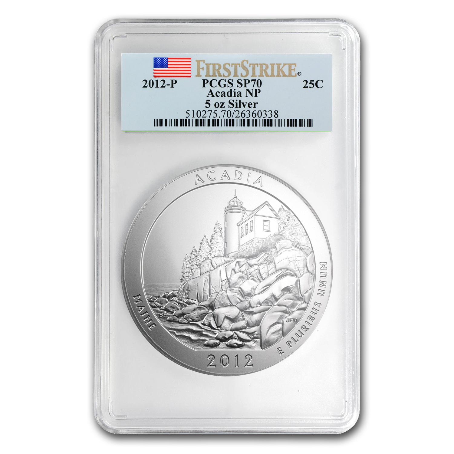 2012-P 5 oz Silver ATB Acadia SP-70 PCGS (First Strike)