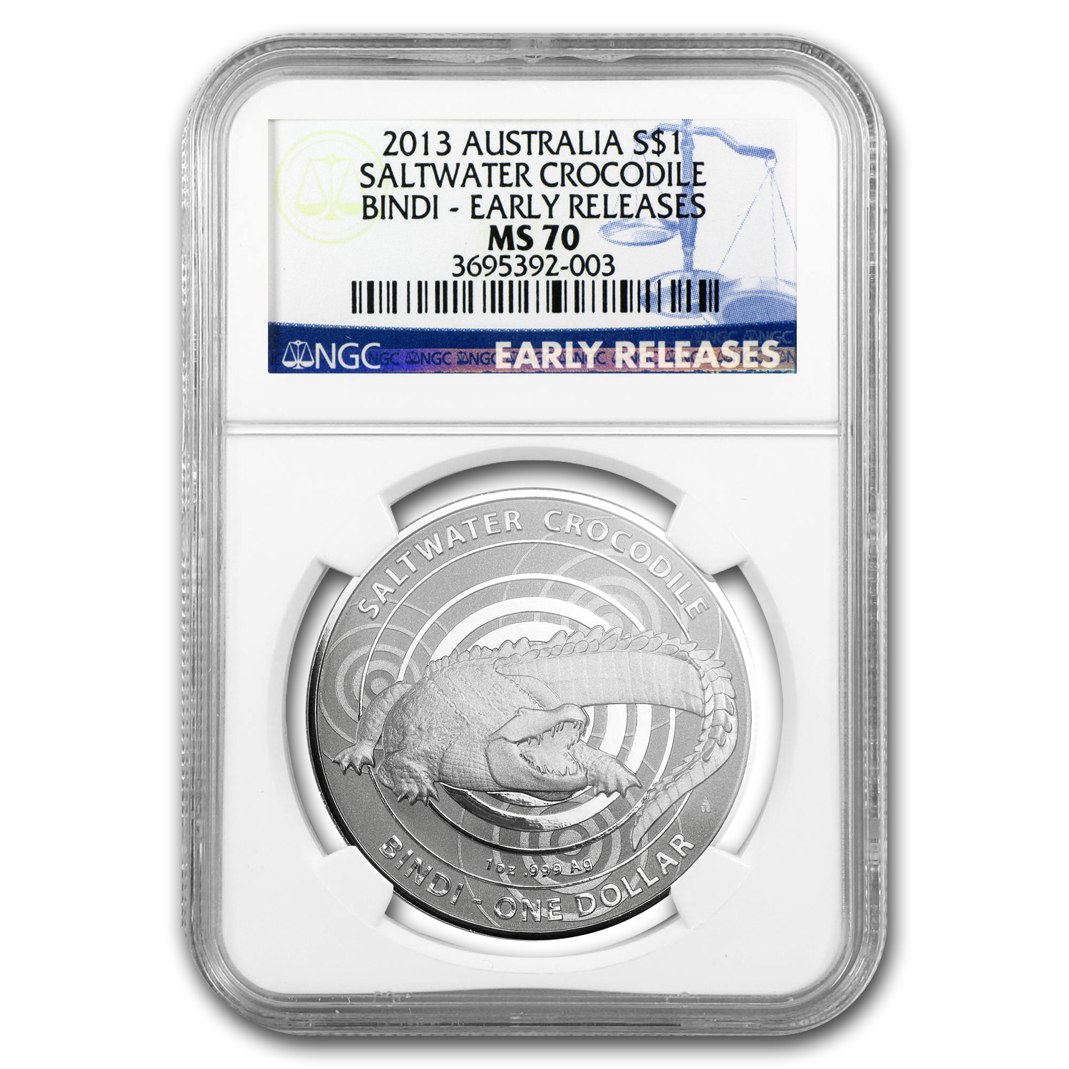 Royal Australian 2013 Crocodiles - Bindi Early Release MS-70 NGC