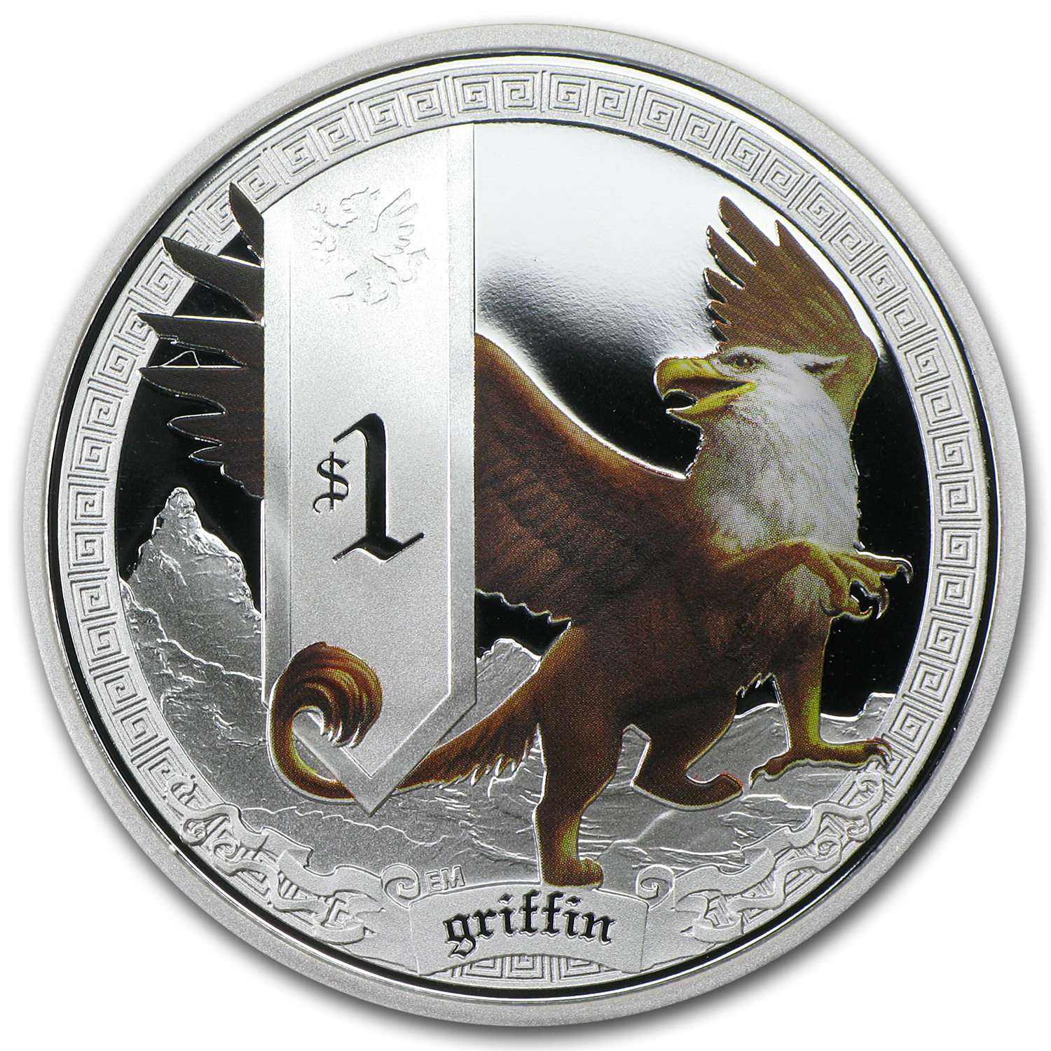 2013 Tuvalu 1 oz Silver Mythical Creatures Griffin Proof