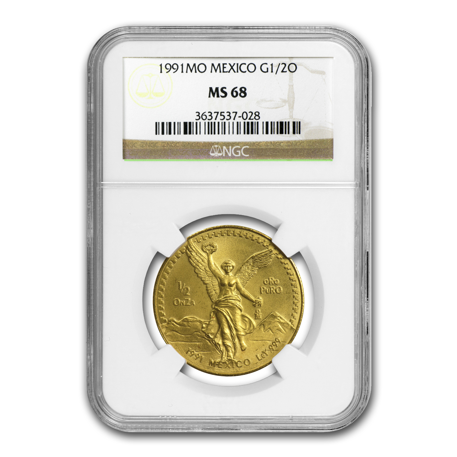 1991 Mexico 1/2 oz Gold Libertad MS-68 NGC