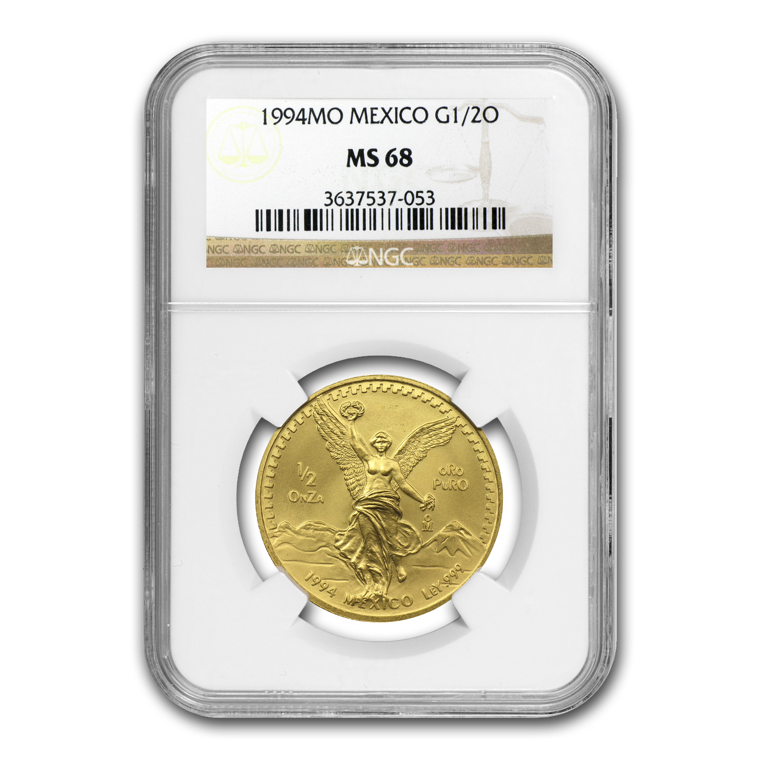 1994 Mexico 1/2 oz Gold Libertad MS-68 NGC