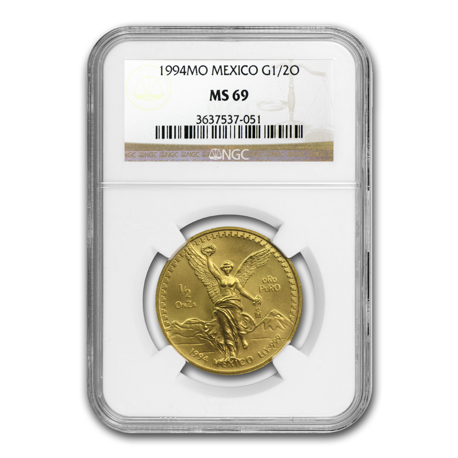 1994 Mexico 1/2 oz Gold Libertad MS-69 NGC