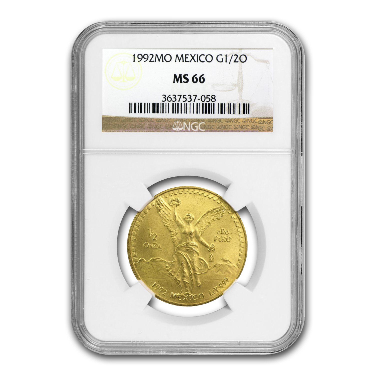 1992 Mexico 1/2 oz Gold Libertad MS-66 NGC