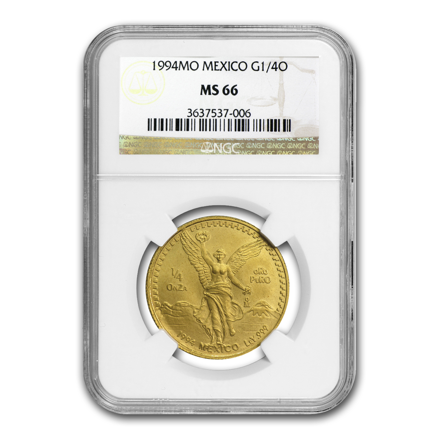 1994 Mexico 1/4 oz Gold Libertad MS-66 NGC