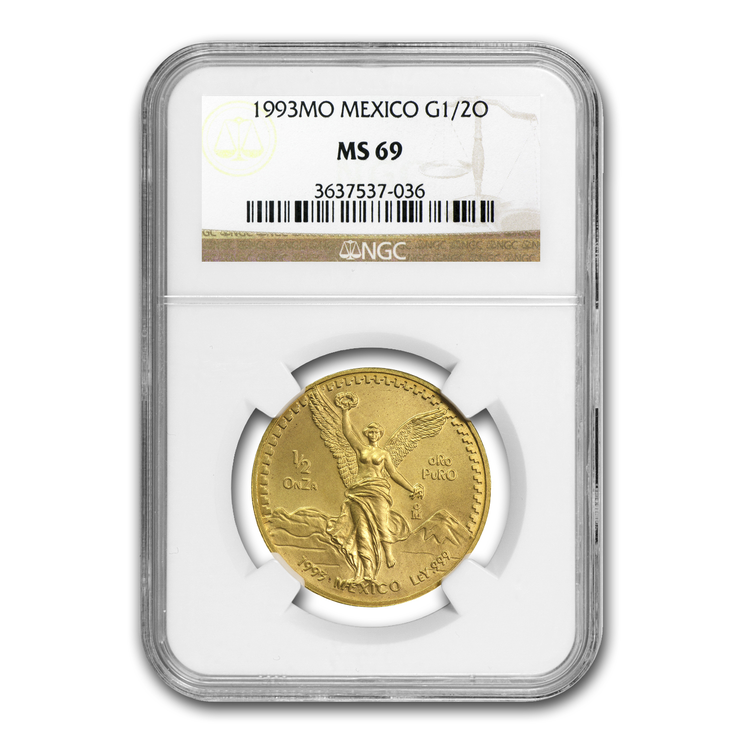 1993 Mexico 1/2 oz Gold Libertad MS-69 NGC
