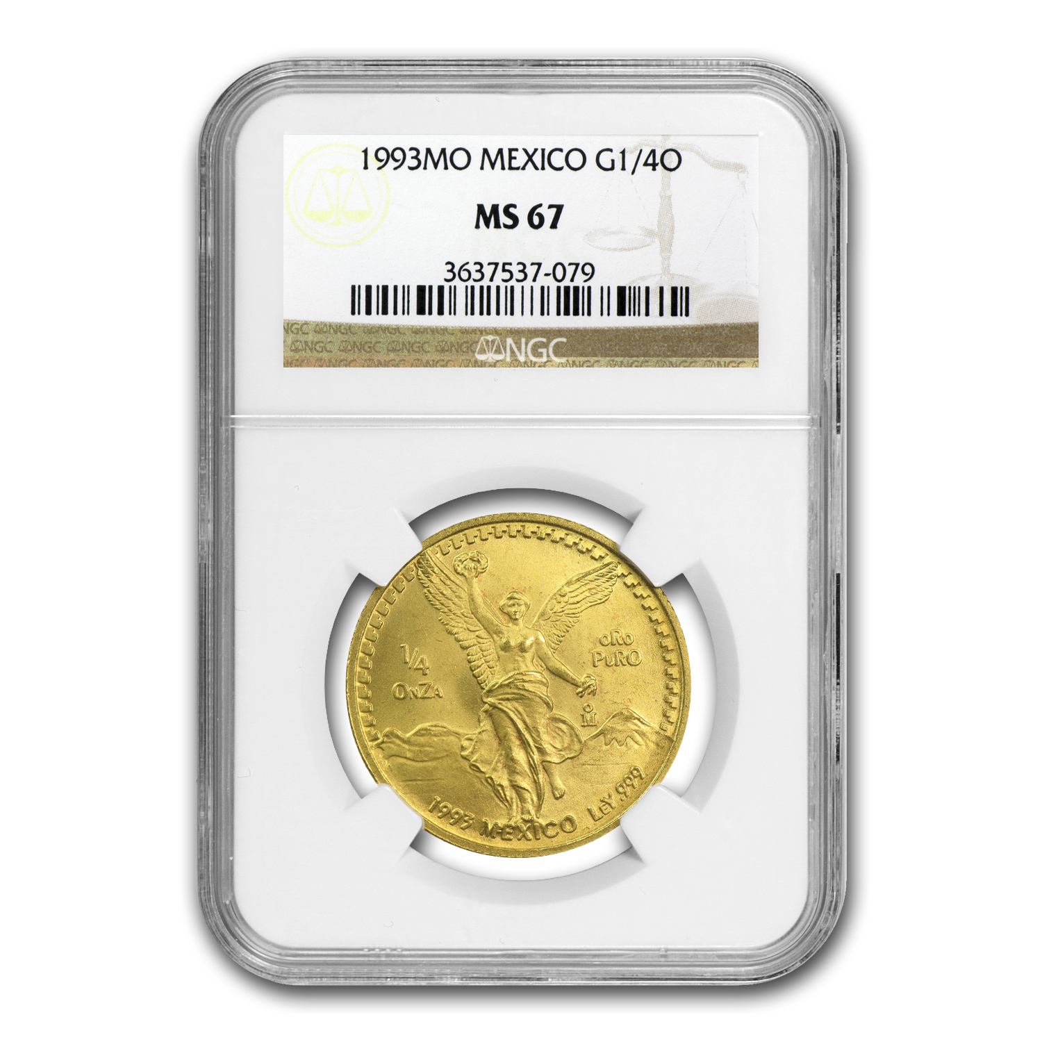 1993 Mexico 1/4 oz Gold Libertad MS-67 NGC