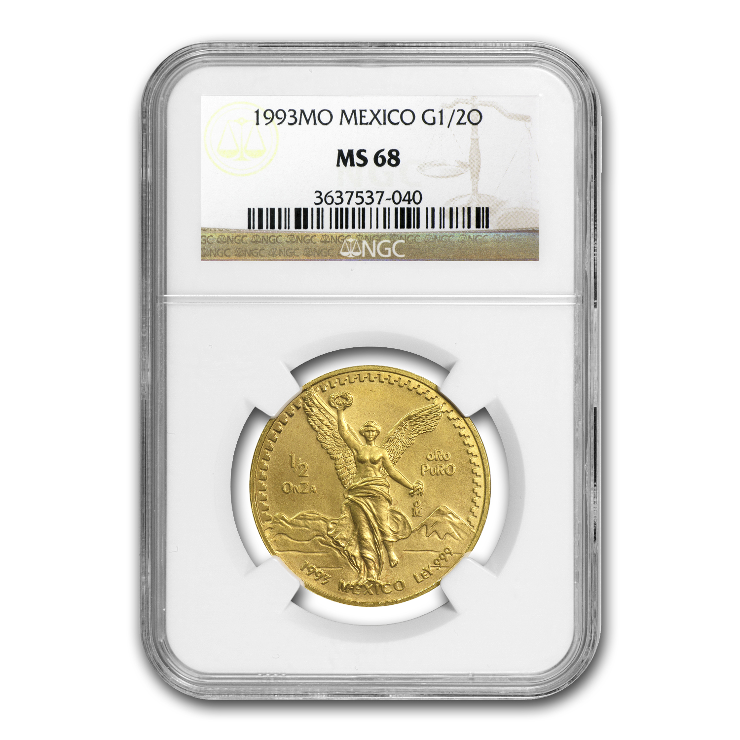 1993 Mexico 1/2 oz Gold Libertad MS-68 NGC