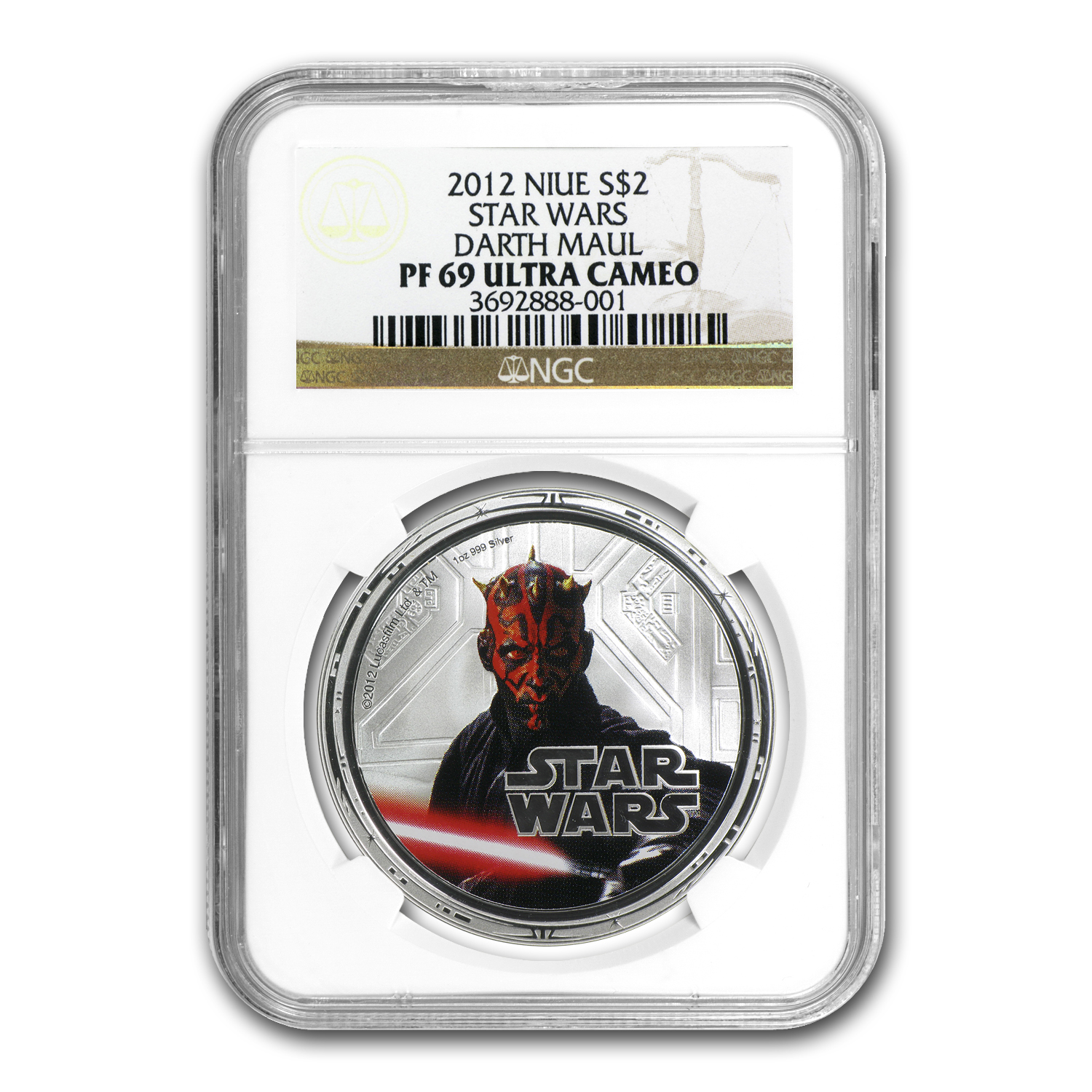2012 Niue 1 oz Silver $2 Star Wars Darth Maul PF-69 NGC