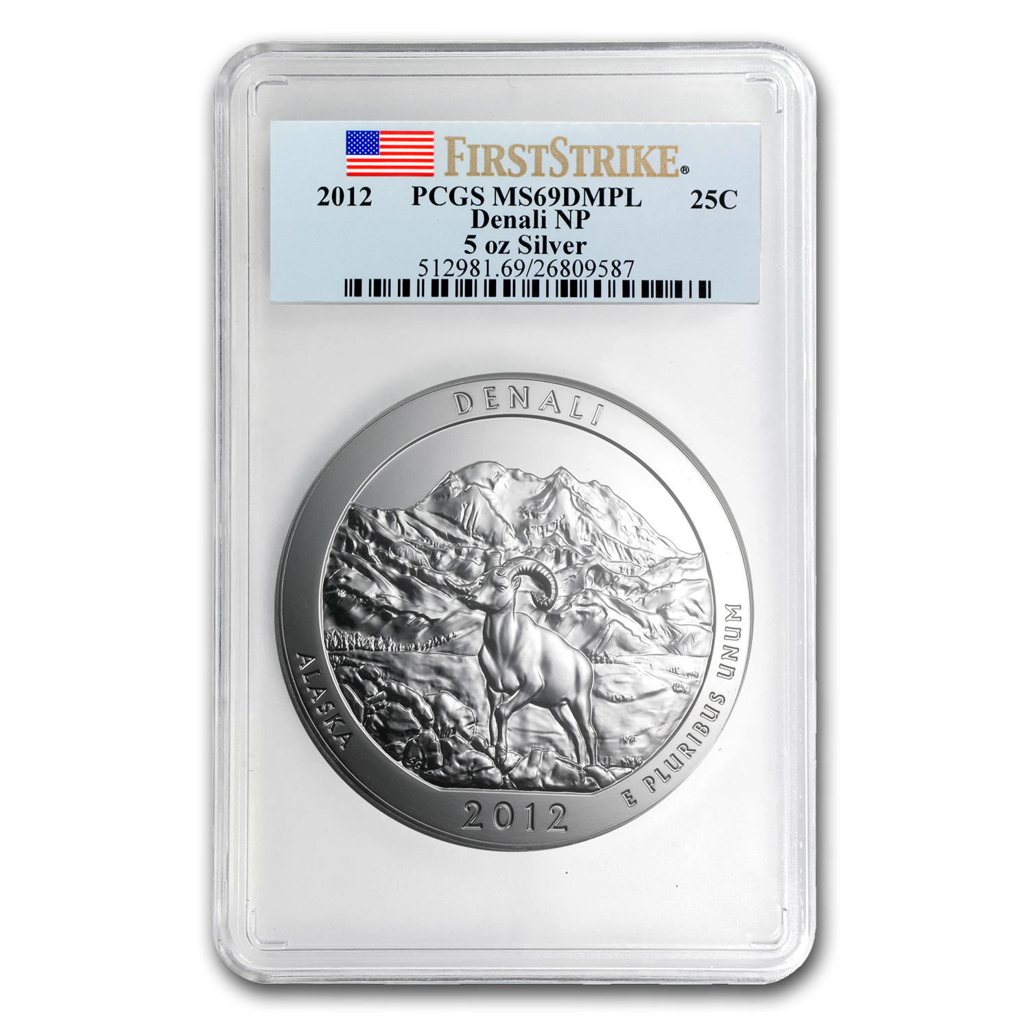2012 5 oz Silver ATB Denali MS-69 DMPL PCGS (First Strike)