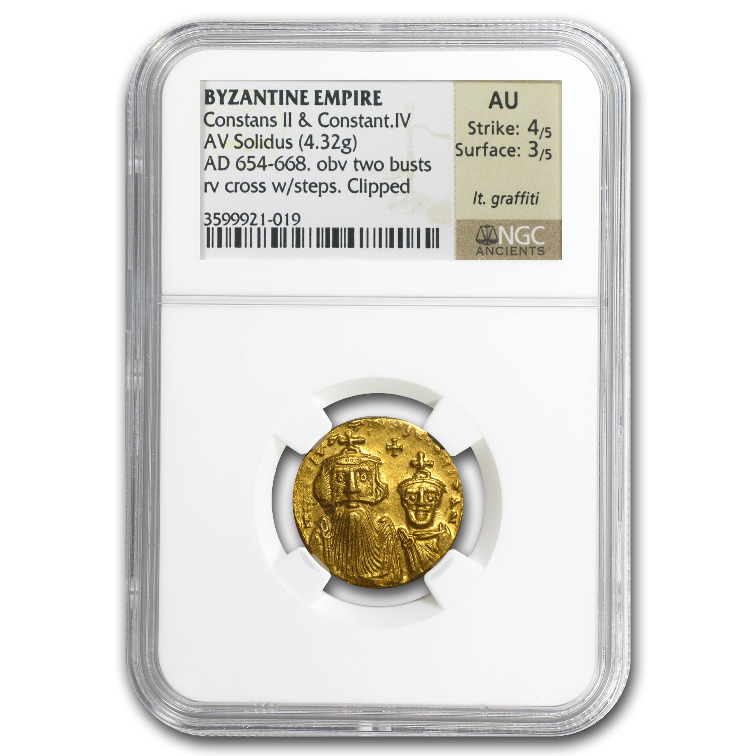 Byzantine Gold Constans II, Constant. IV AU NGC (654-668 AD)
