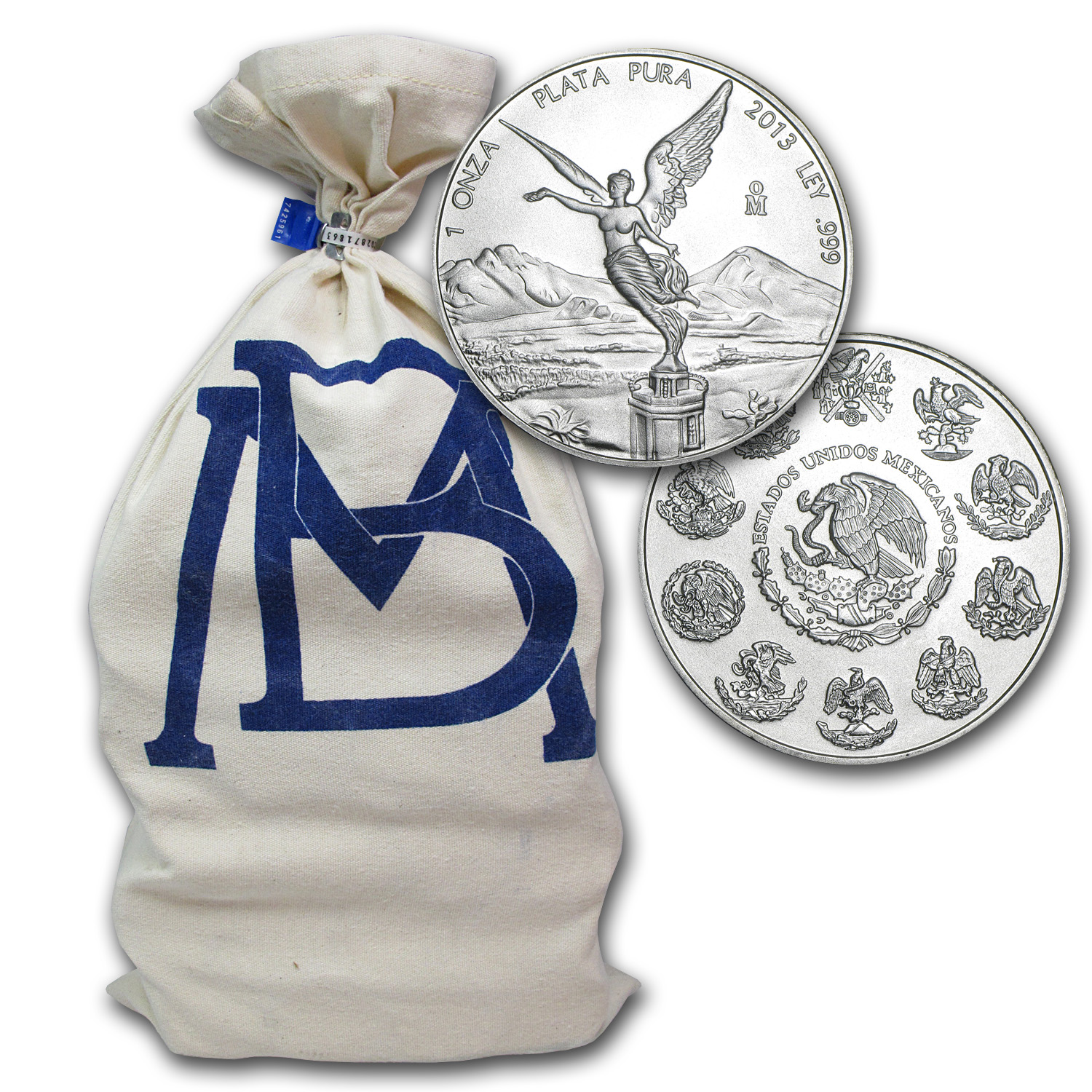 2013 1 oz Silver Mexican Libertad 500-Coin Original Bank Bag