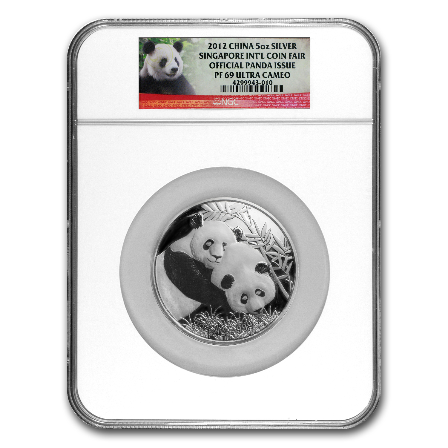 2012 - (5 oz) Silver Panda Proof NGC PF-69