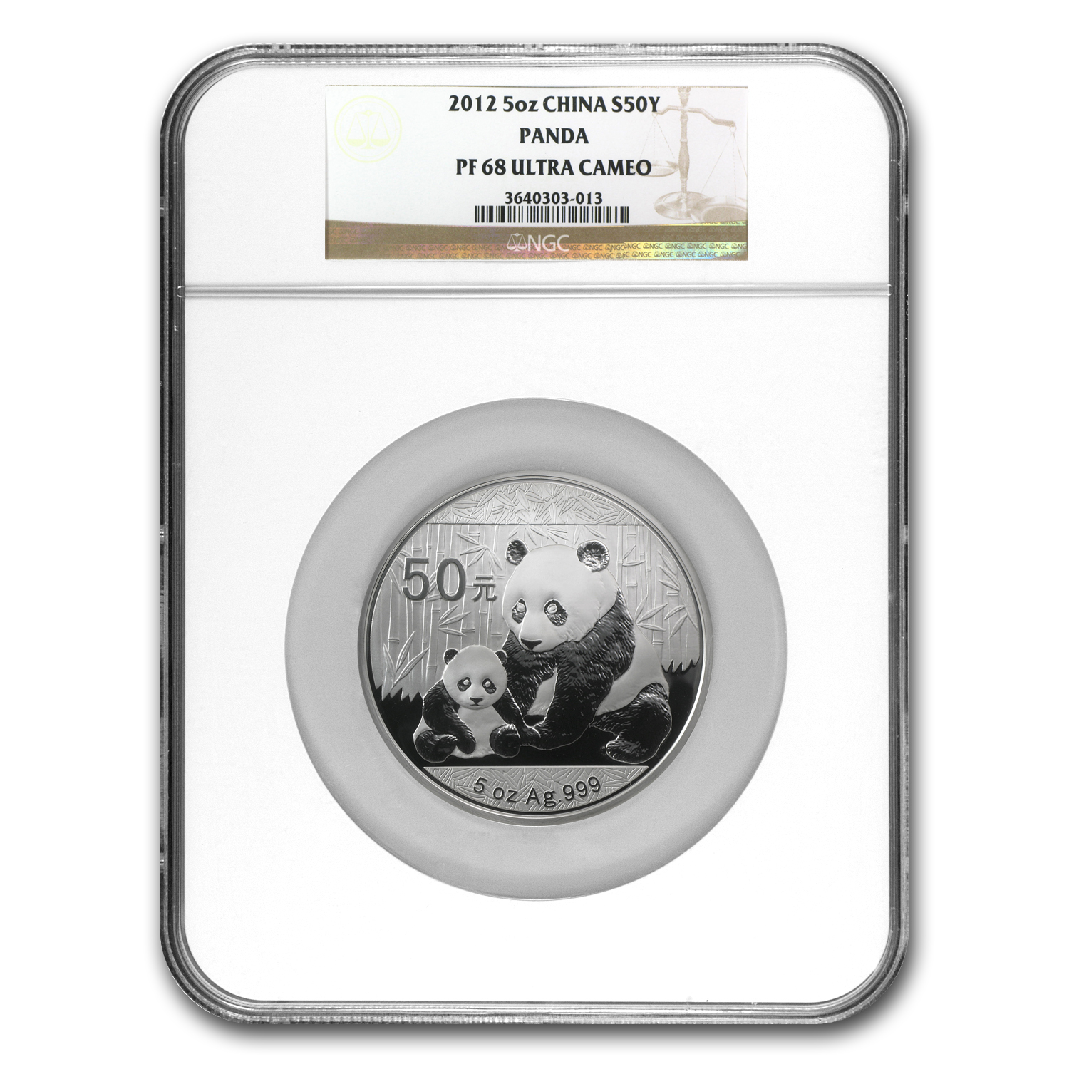 2012 China 5 oz Silver Panda PF-68 NGC