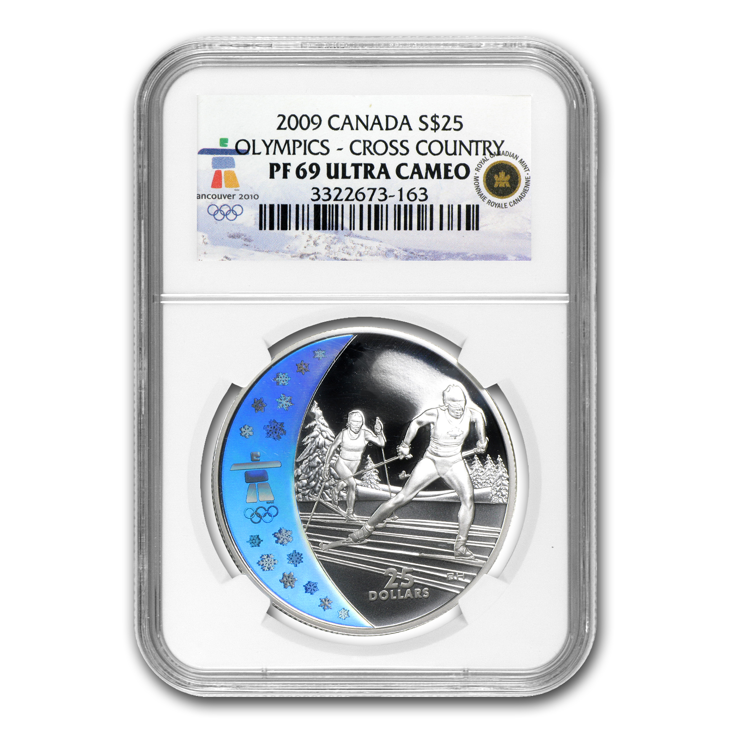 2009 Silver Canadian $25 Olympic Cross Country Skiing PF-69 NGC