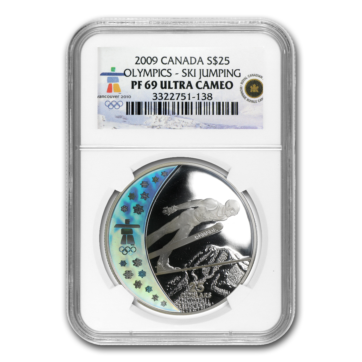 2009 Silver Canadian $25 Olympic Ski Jumping PF-69 UCAM NGC