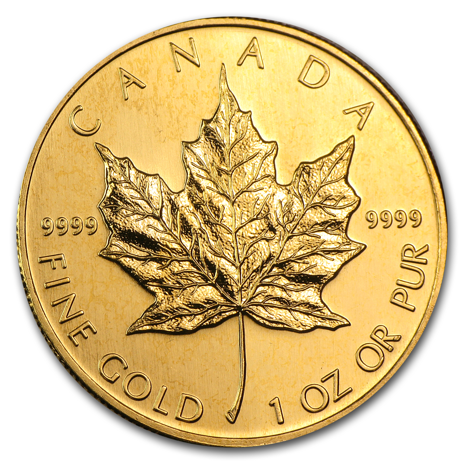 1992 1 oz Gold Canadian Maple Leaf BU