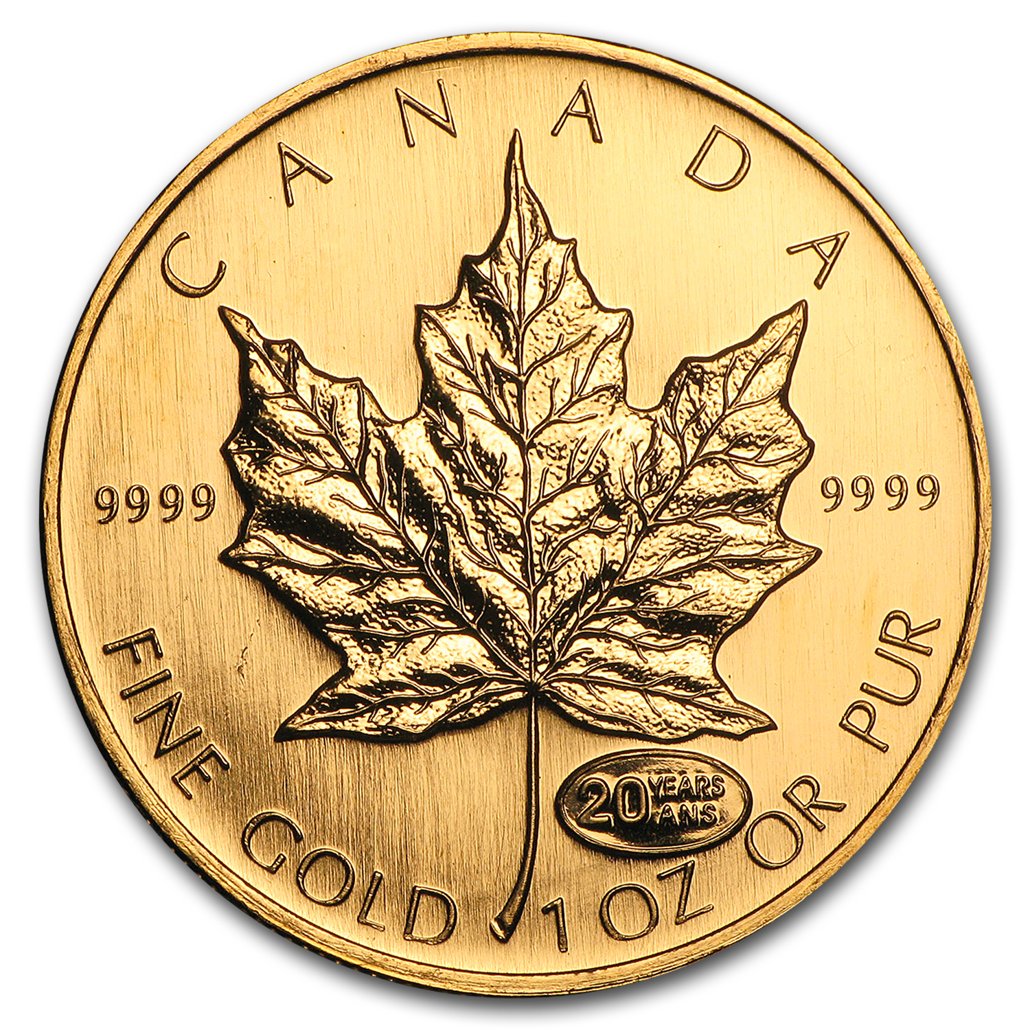 1999 Canada 1 Oz Gold Maple Leaf Bu 20 Years Ans Privy