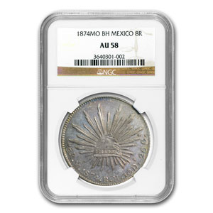 1874-Mo BH Mexico Silver 8 Reales AU-58 NGC
