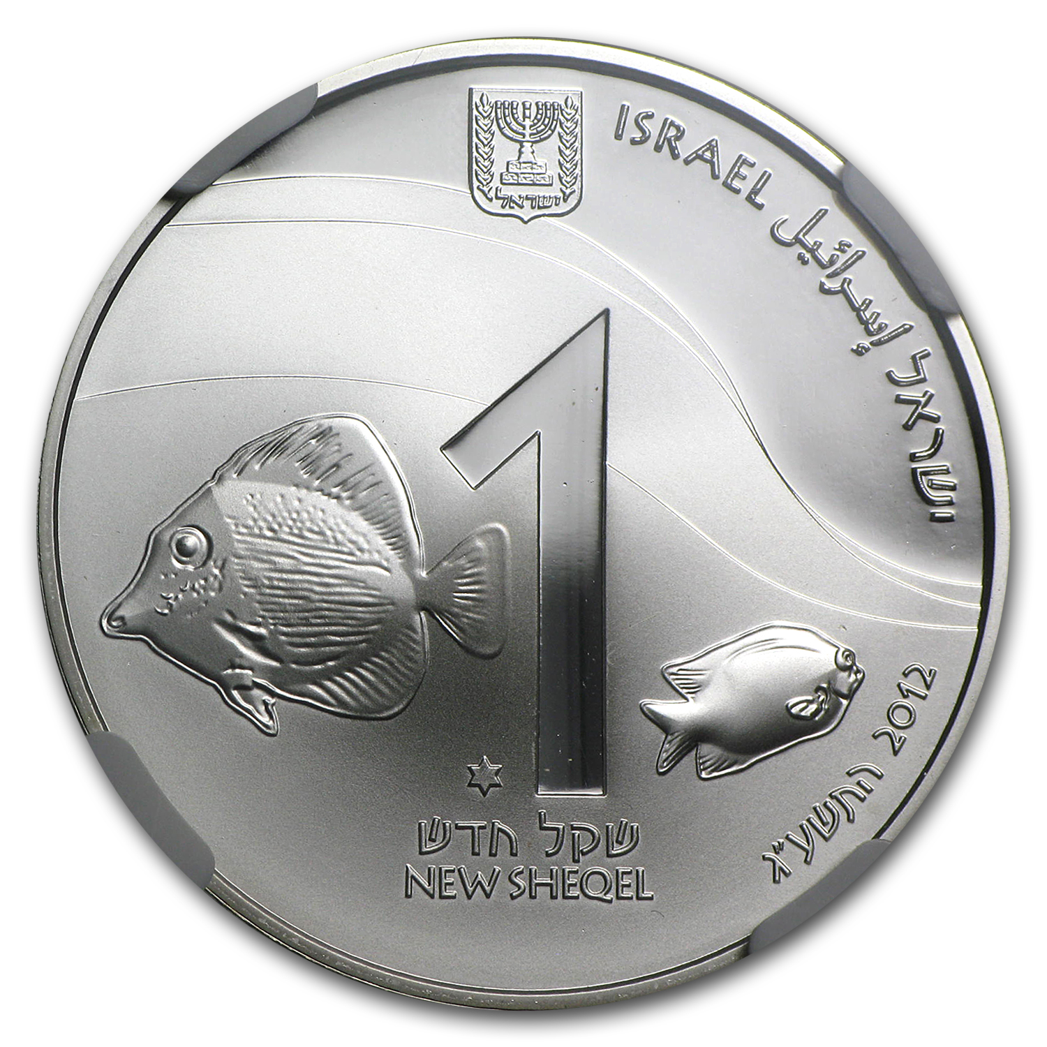 2012 Israel Coral Reef, Eilat Proof-Like 1 NIS Coin MS-69 NGC
