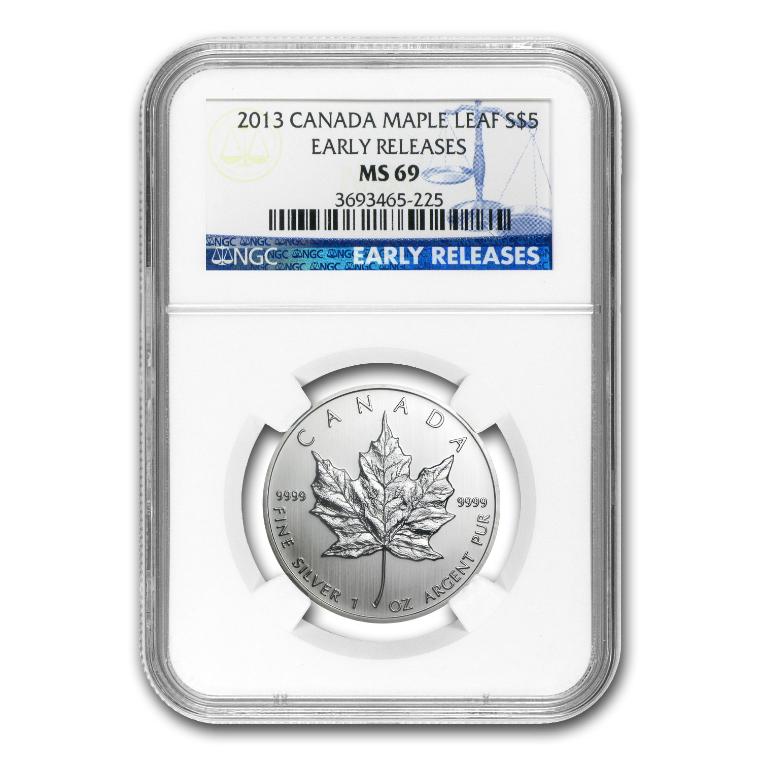 2013 1 oz Silver Canadian Maple Leaf MS-69 NGC Early Releases