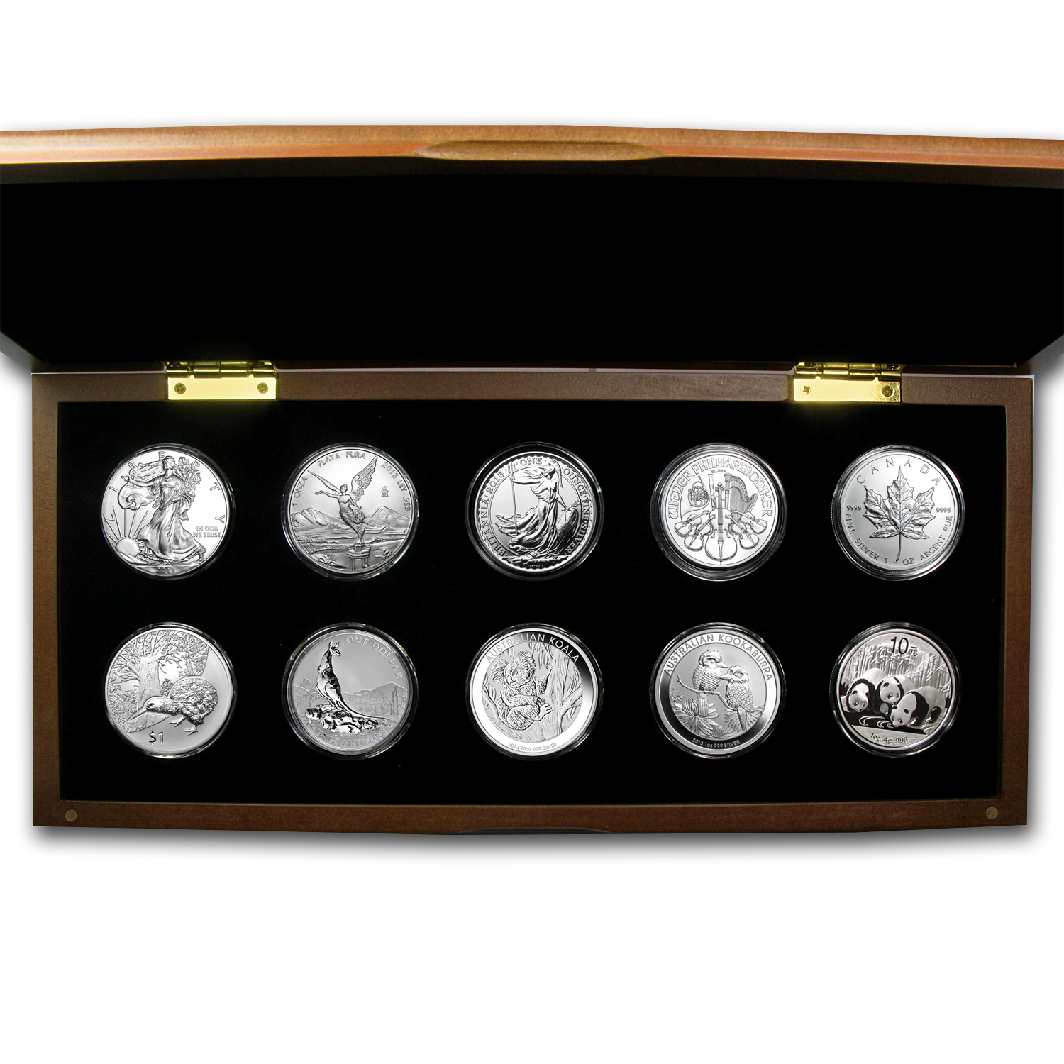 2013 10-Coin 1 oz Silver Around the World Bullion Set BU