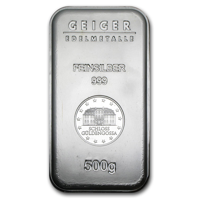 500 Oz Silvers: 1/2 Kilo Silver Bullion Bars