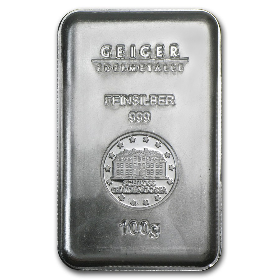 100 Gram Silver Bar Geiger Security Line Series All