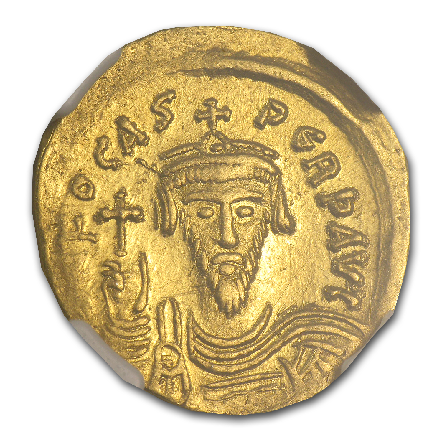 Byzantine Gold Emperor Phocas (602-610 AD) Ch XF NGC