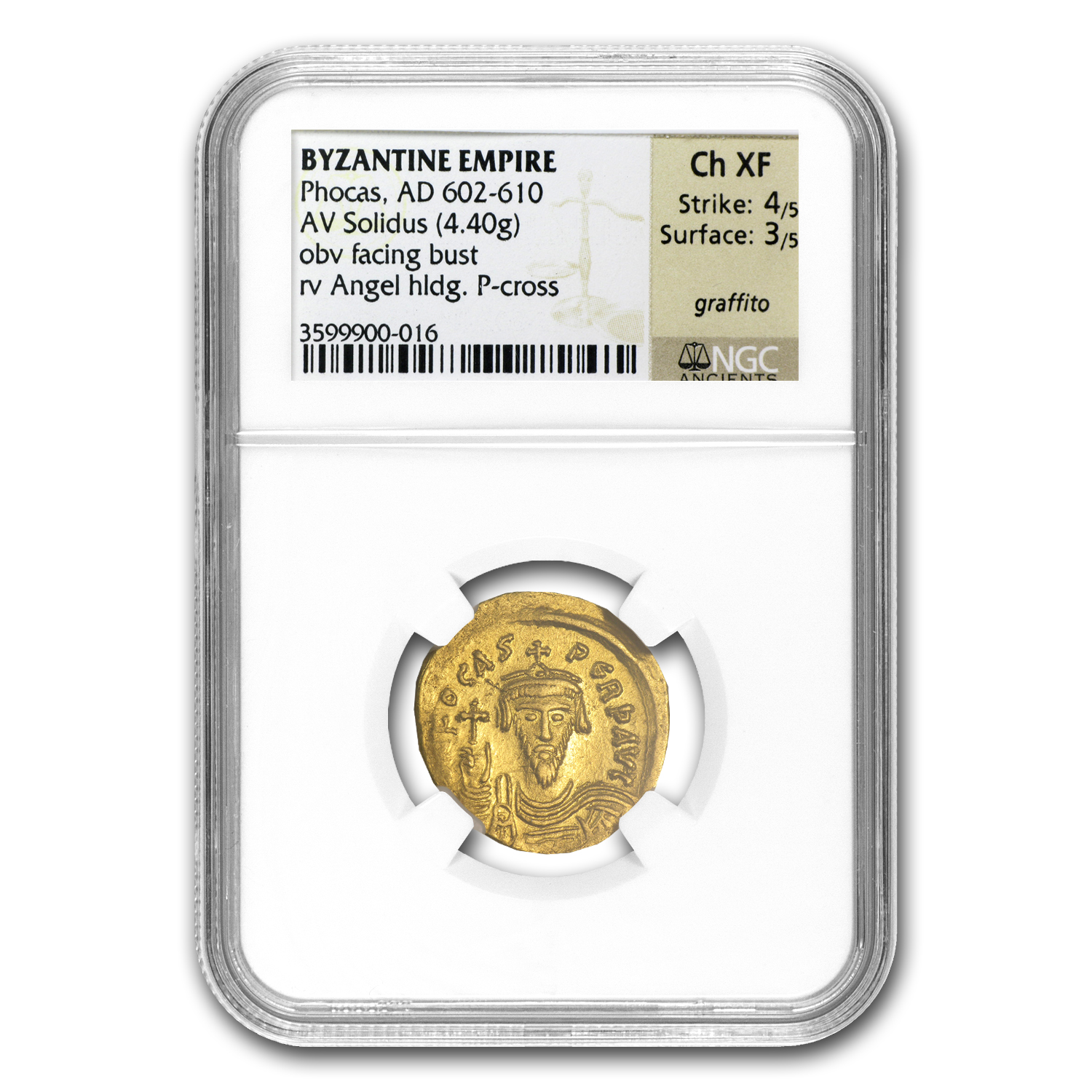 Byzantine Gold Solidus - (Emperor Phocas) 602-610AD - ChXF NGC