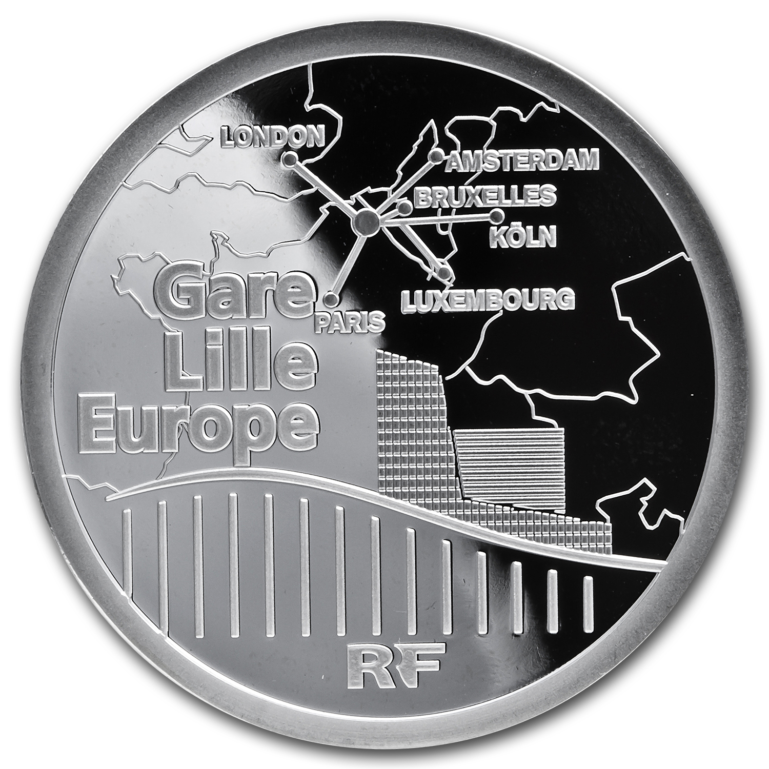 2010 France Silver €10 Trains and Stations Prf (Lille Europe TGV)