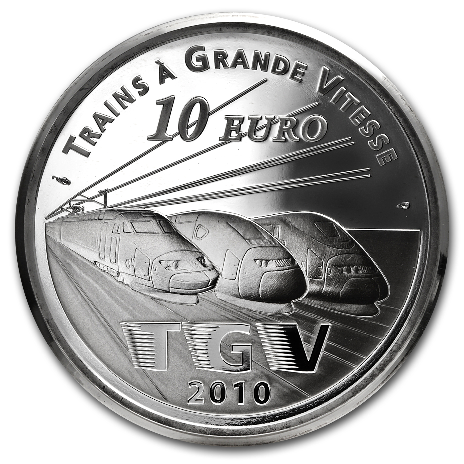 2010 €10 Silver Proof - Trains and Stations -Lille Europe TGV